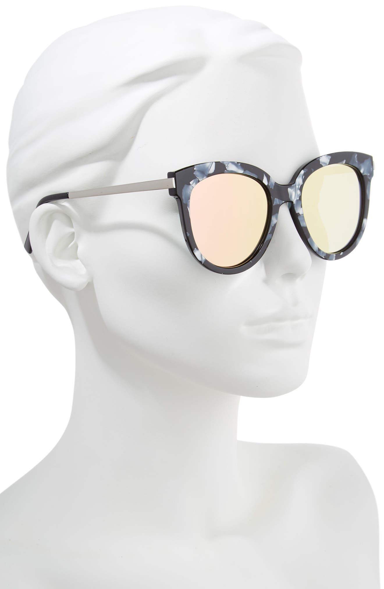 50mm Flat Cat Eye Sunglasses,                             Alternate thumbnail 2, color,                             Black Acide Pink