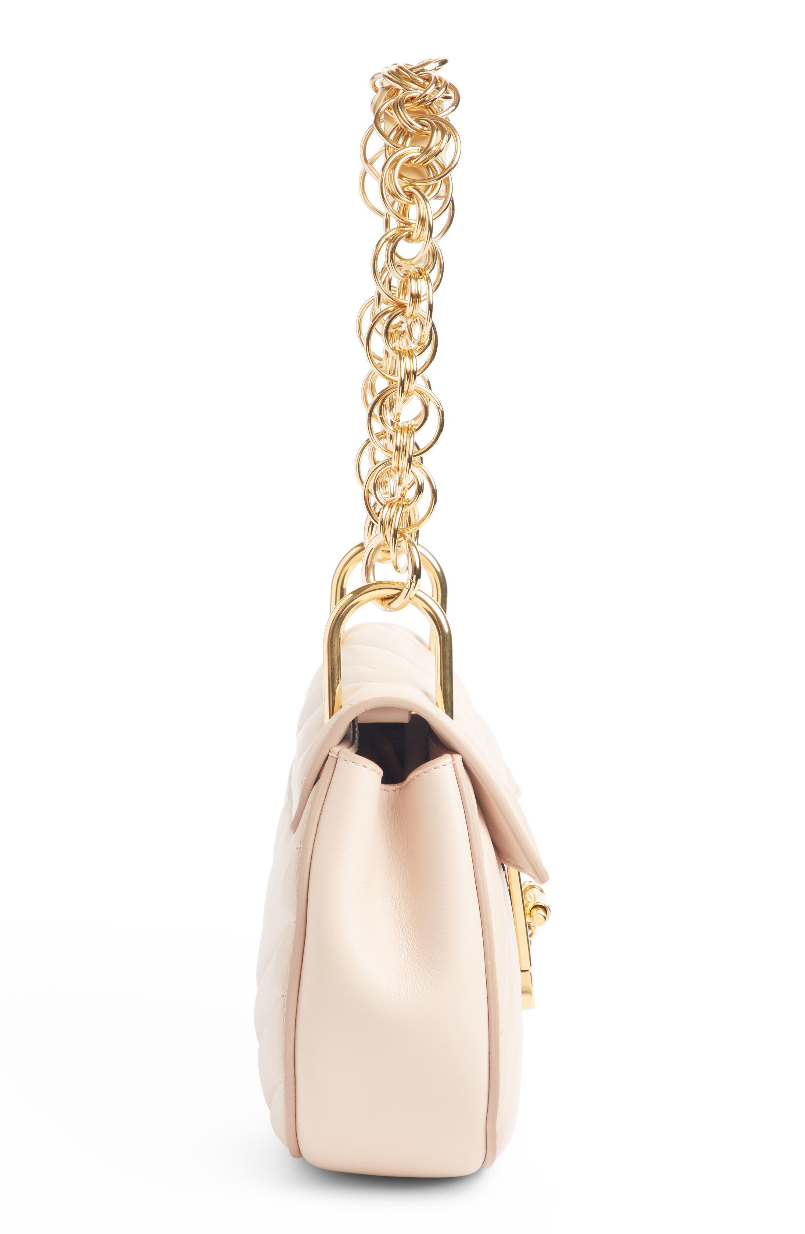 Mini Drew Bijoux Leather Shoulder Bag,                             Alternate thumbnail 3, color,                             Cement Pink