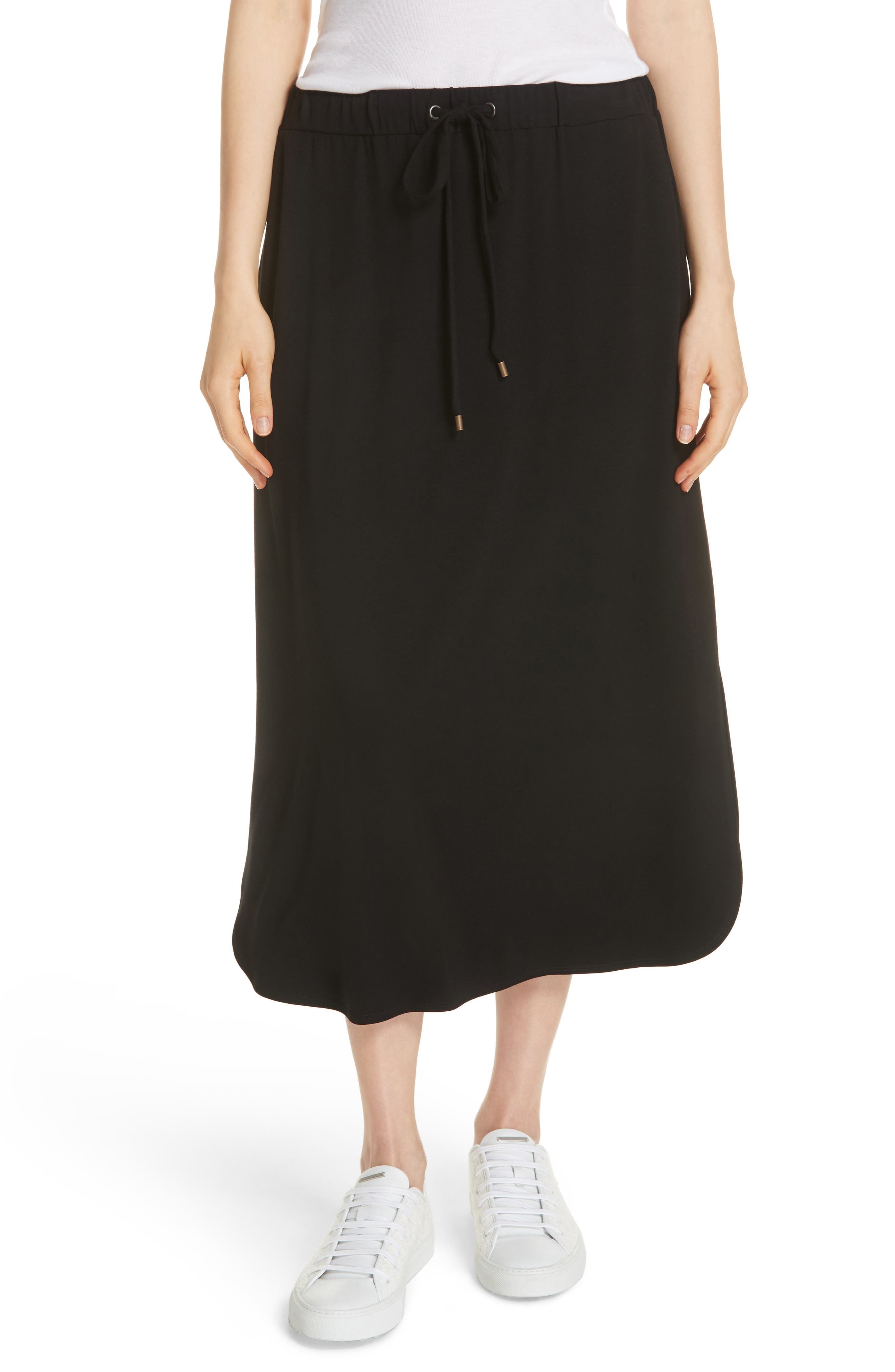 Drawstring Skirt,                         Main,                         color, Black