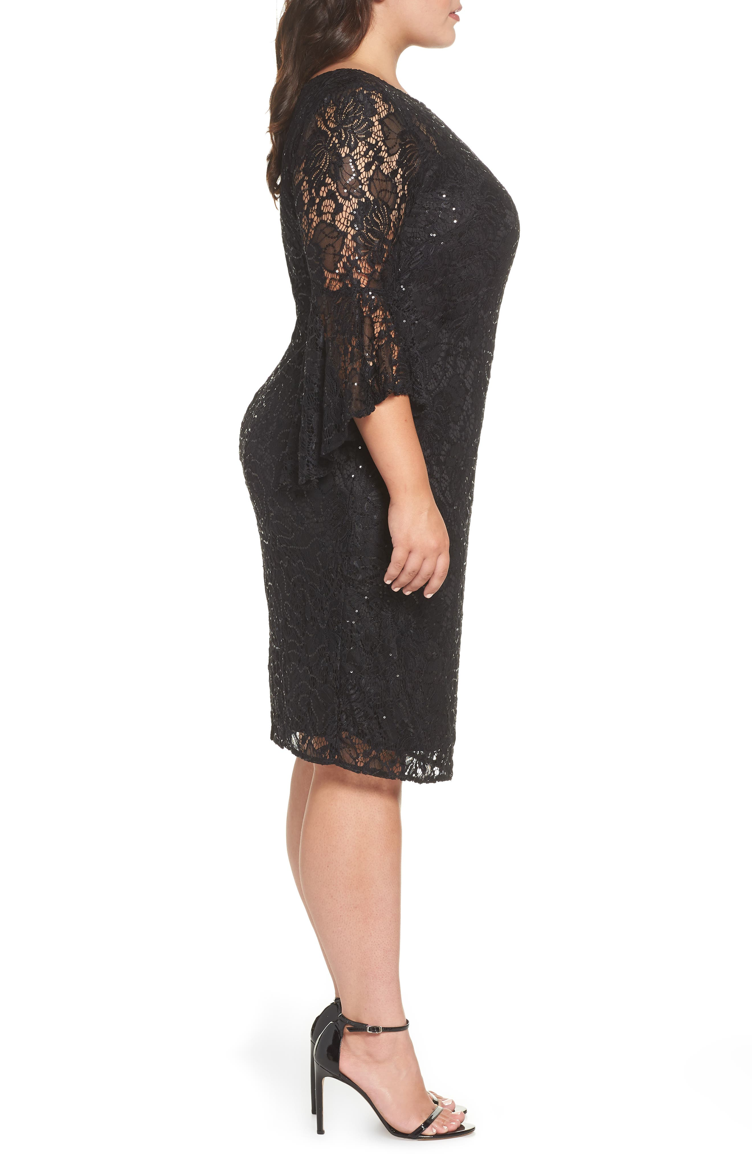 Bell Sleeve Lace Sheath Dress,                             Alternate thumbnail 3, color,                             Black