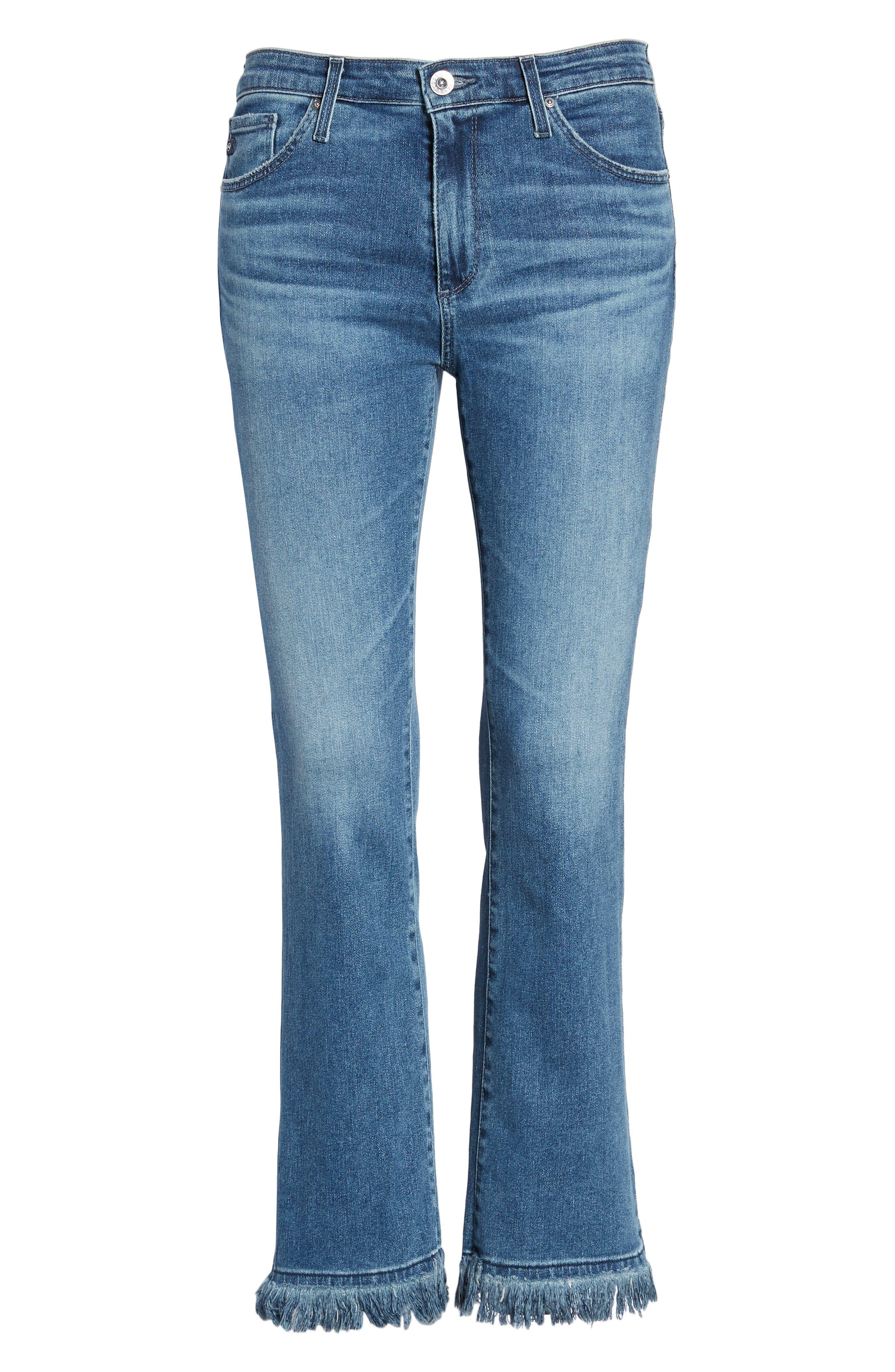 Jodi Crop Fringe Jeans,                             Alternate thumbnail 7, color,                             Pastoral Plains