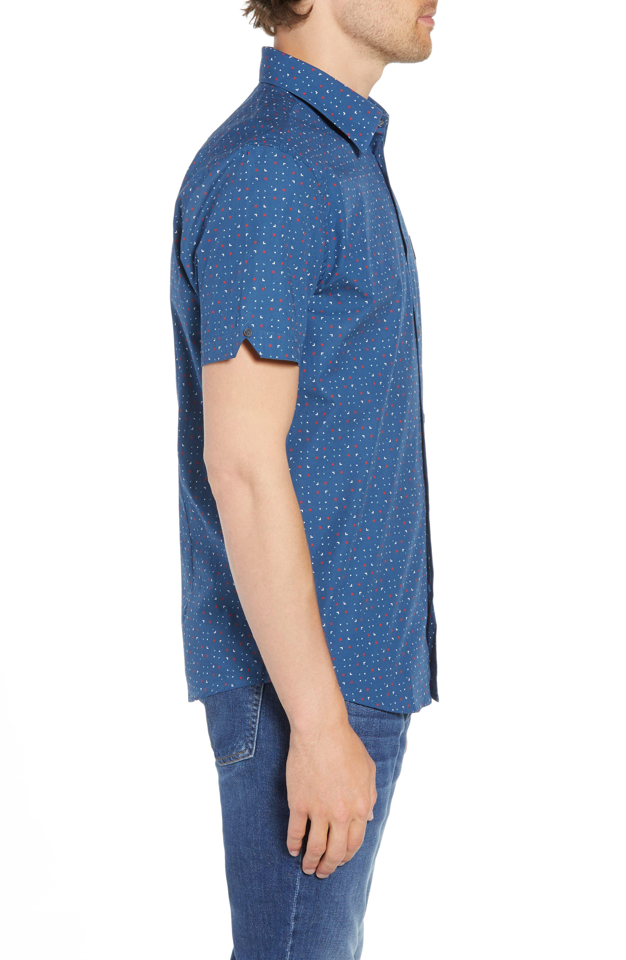 Scattered Geo Woven Shirt,                             Alternate thumbnail 4, color,                             Blue