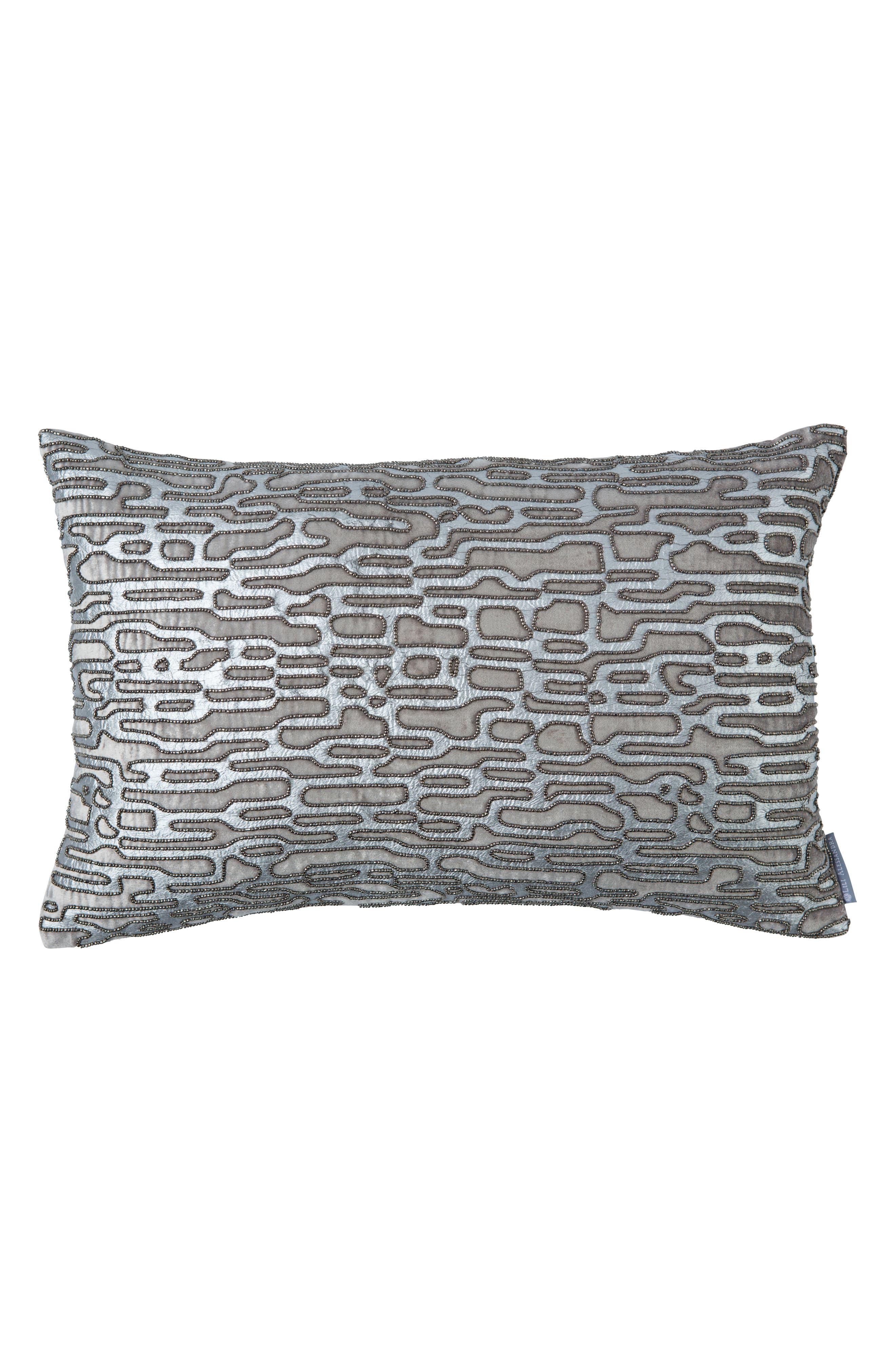 Christian Beaded Velvet Accent Pillow,                             Main thumbnail 1, color,                             Gray