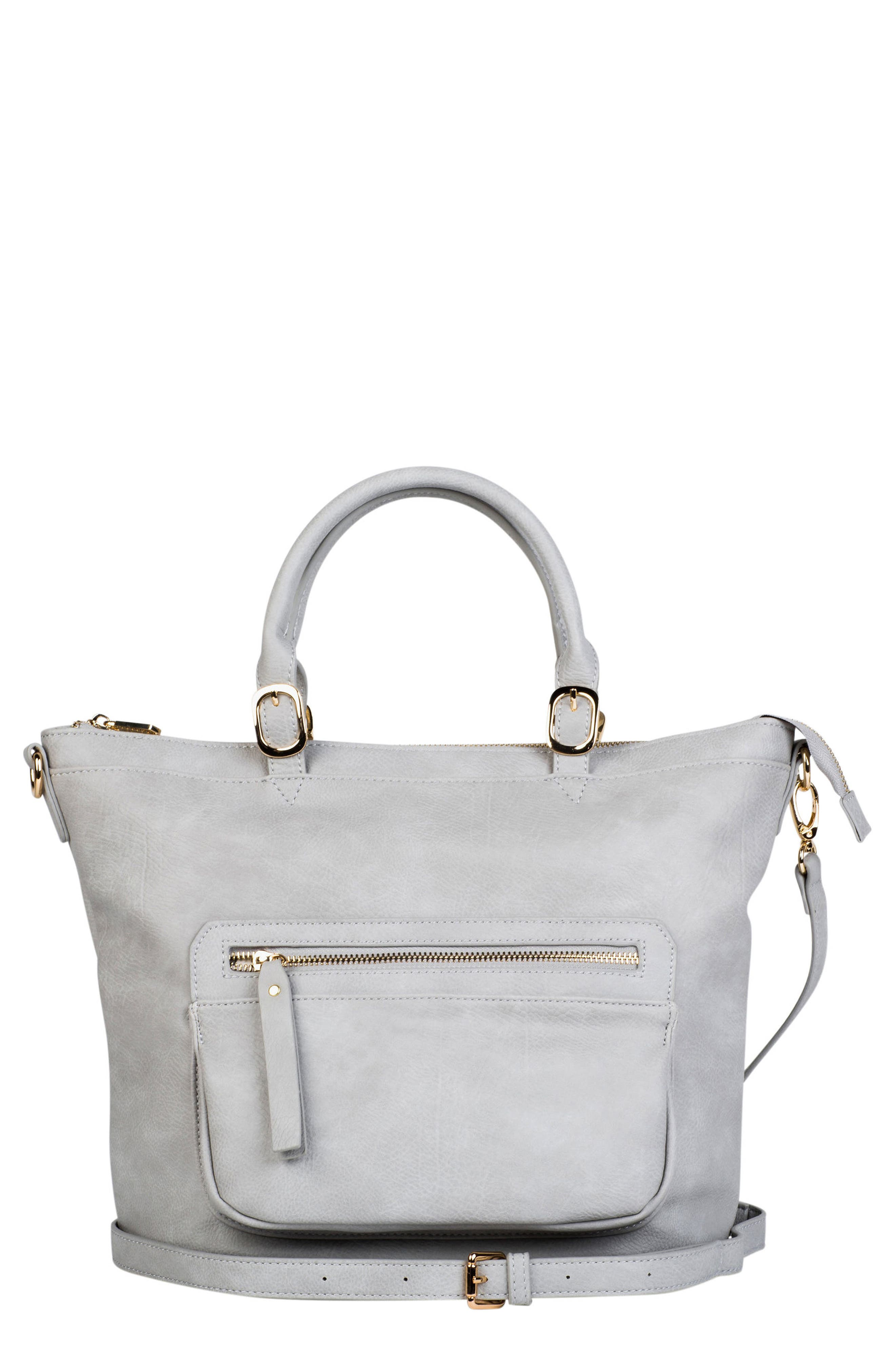 Illusion Vegan Leather Tote,                             Main thumbnail 1, color,                             Grey