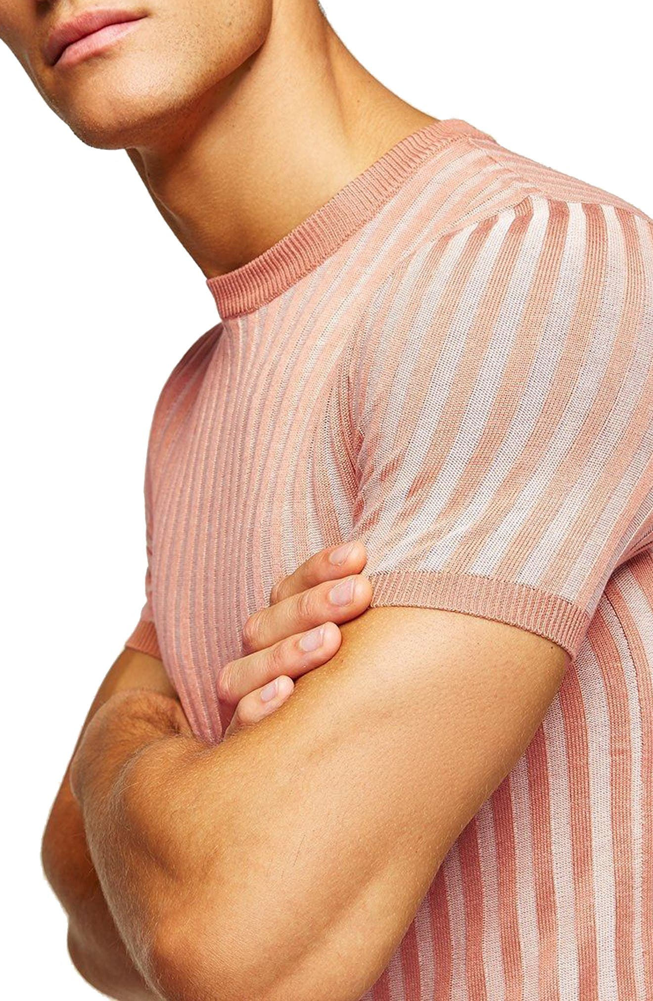 Muscle Fit Ribbed T-Shirt,                             Alternate thumbnail 2, color,                             Pink