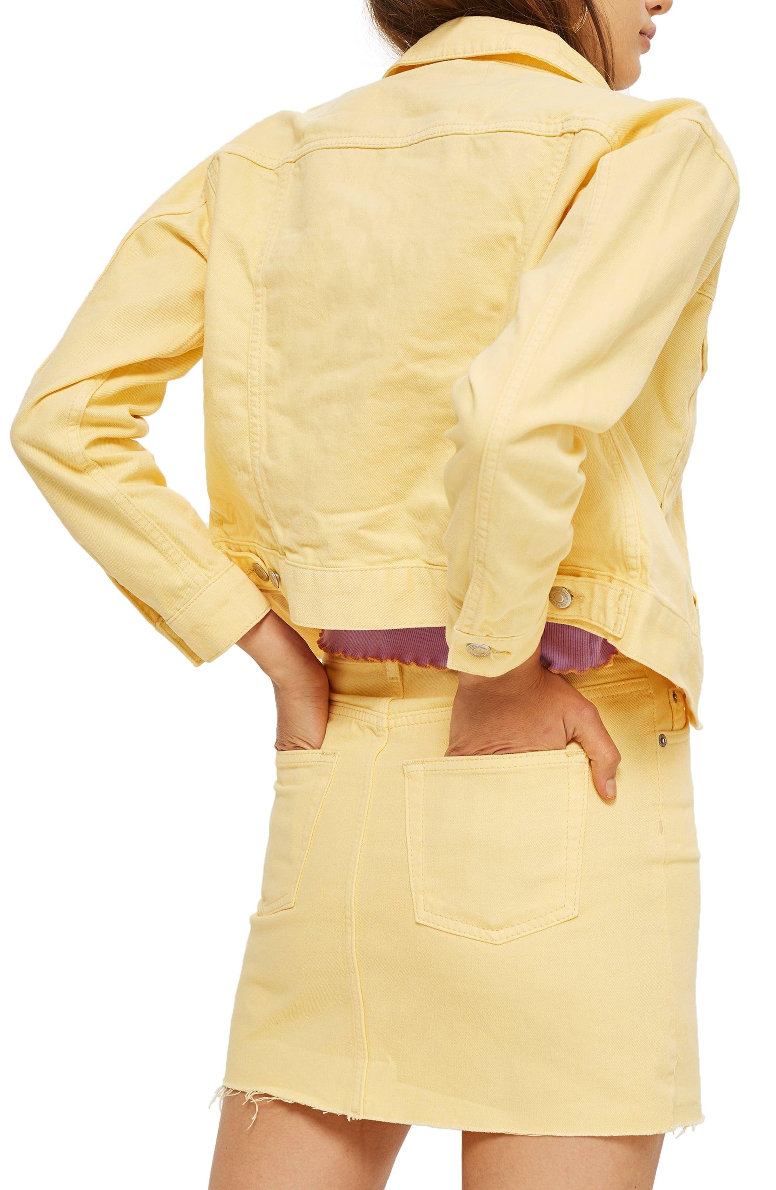 Yellow Denim Jacket,                             Alternate thumbnail 2, color,                             Light Yellow