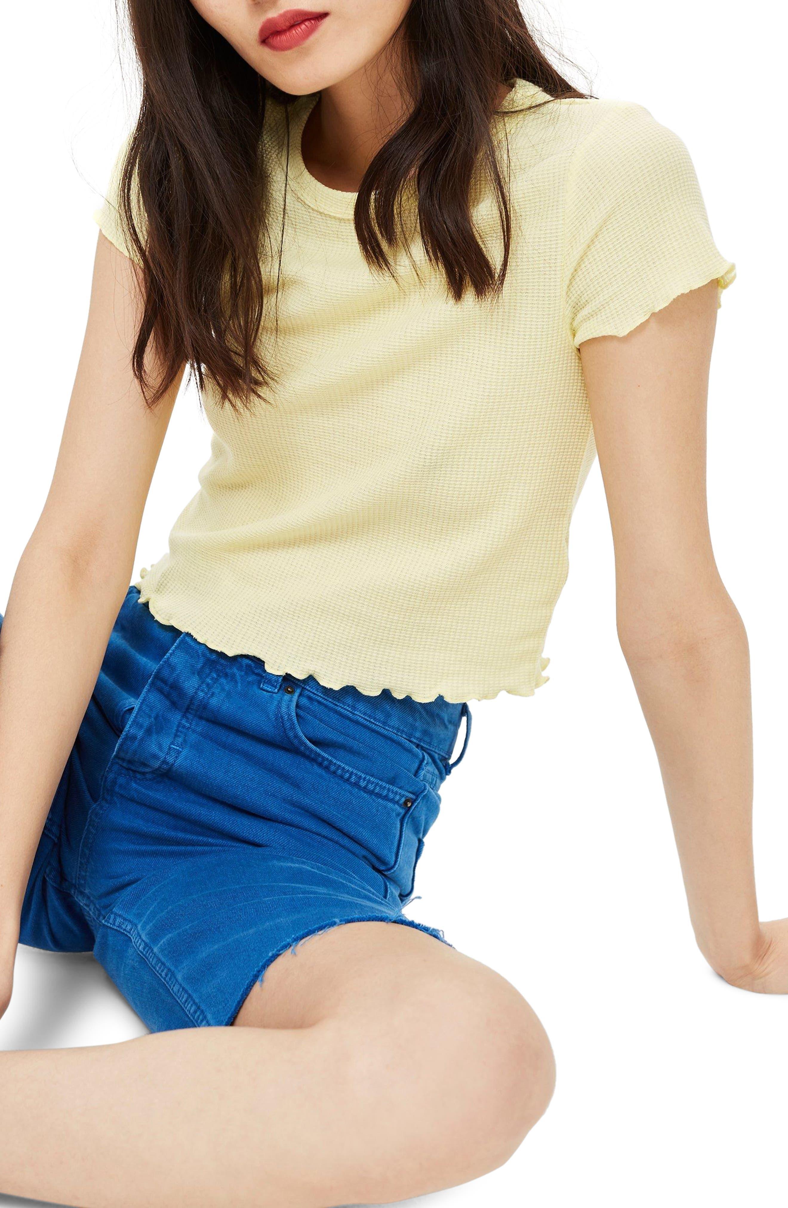 Waffle Short Sleeve T-Shirt,                         Main,                         color, Yellow