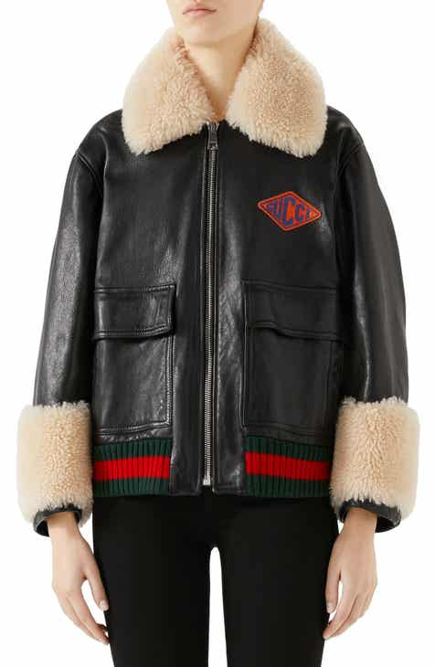 c7331c7fe80b Gucci Genuine Shearling Trim Leather Bomber Jacket