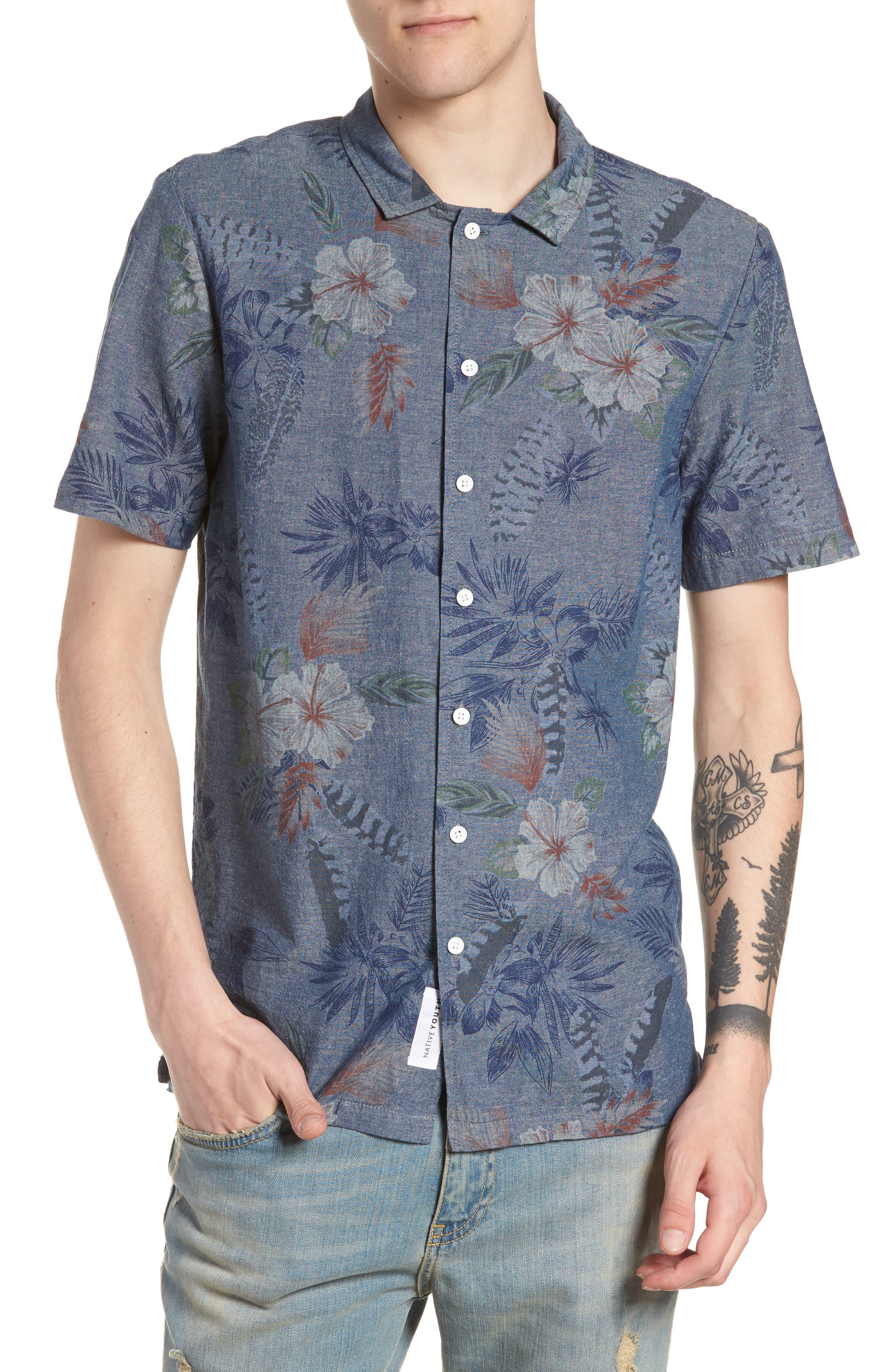 Floral Sketch Short Sleeve Sport Shirt,                         Main,                         color, Indigo