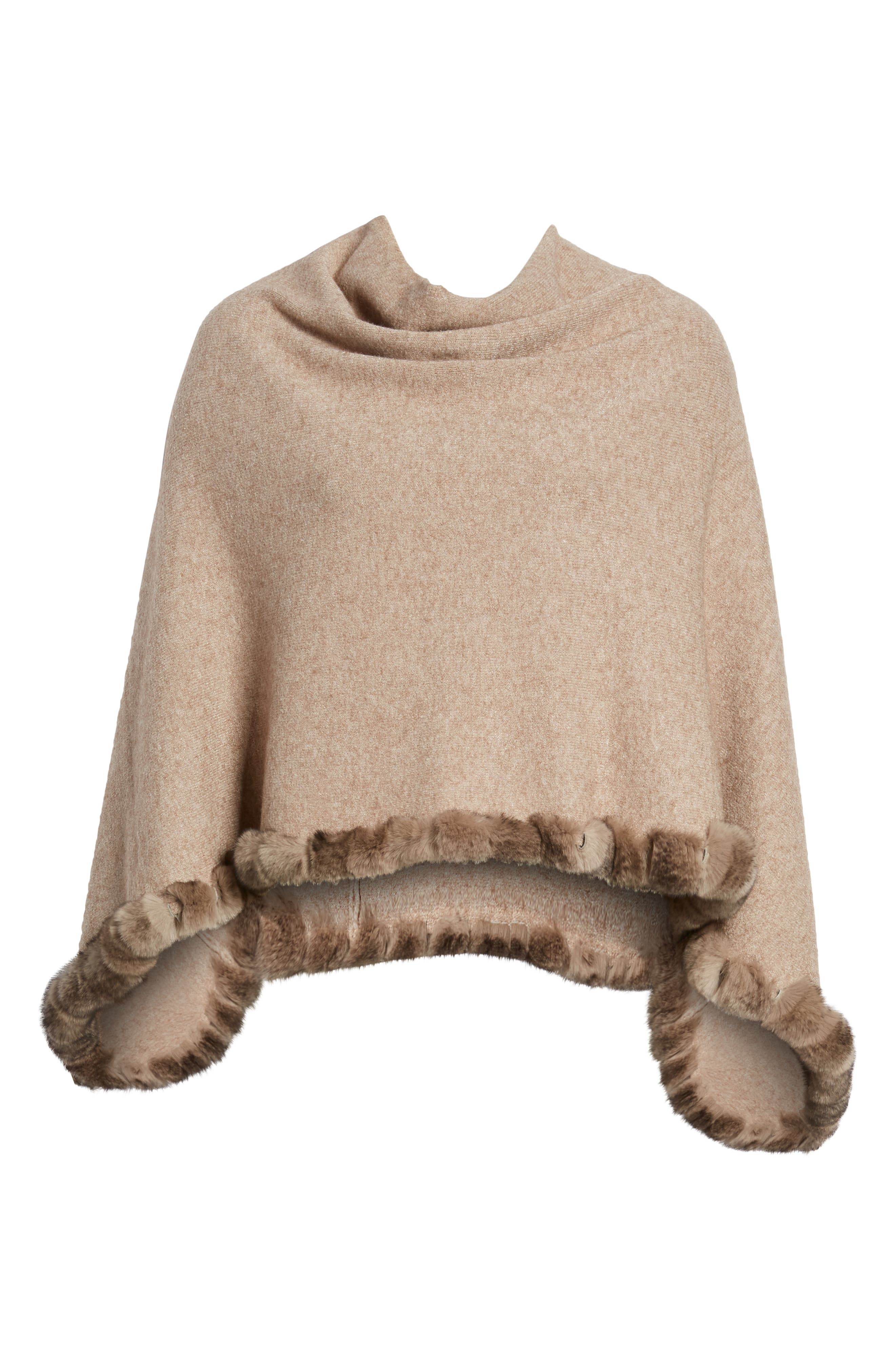 Angled Poncho with Genuine Rabbit Fur Trim,                             Alternate thumbnail 6, color,                             Oatmeal