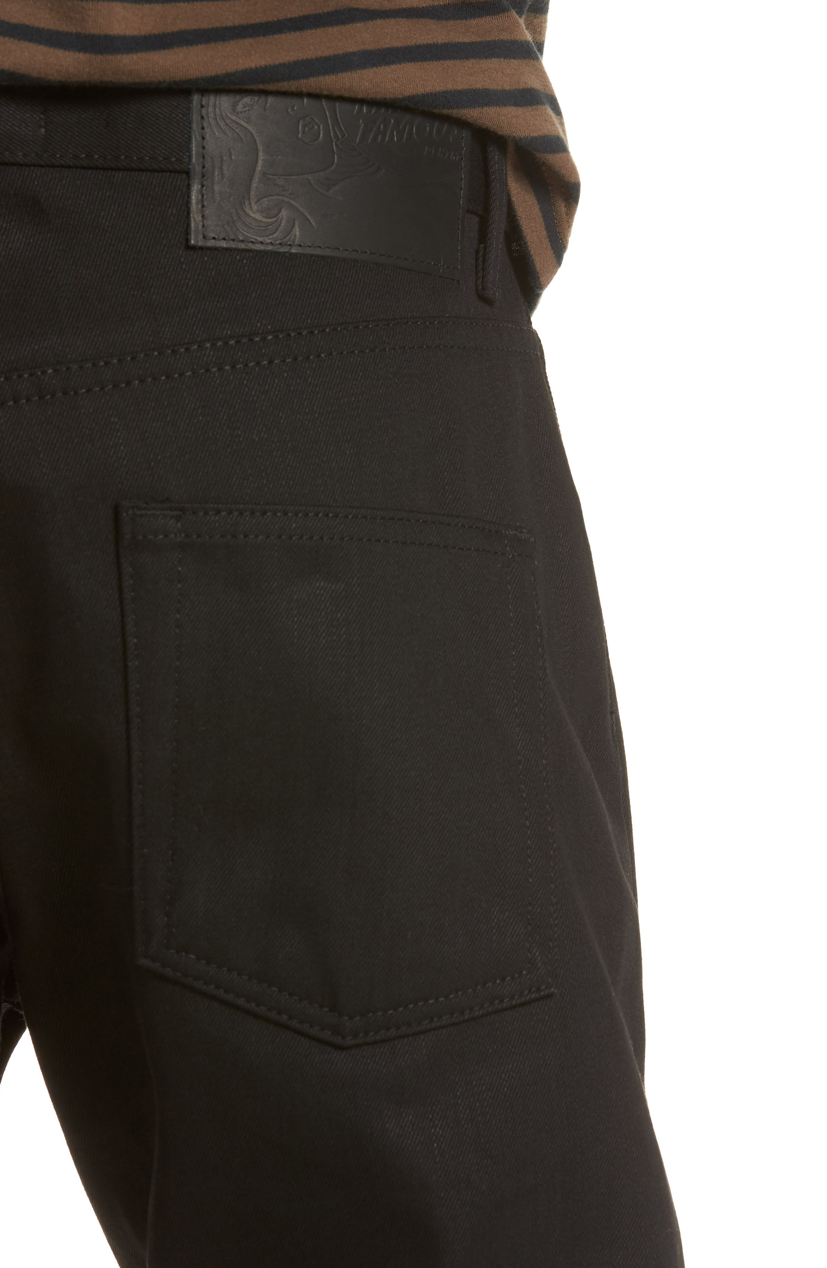 Naked & Famous Easy Guy Relaxed Fit Jeans,                             Alternate thumbnail 4, color,                             Solid Black Selvedge
