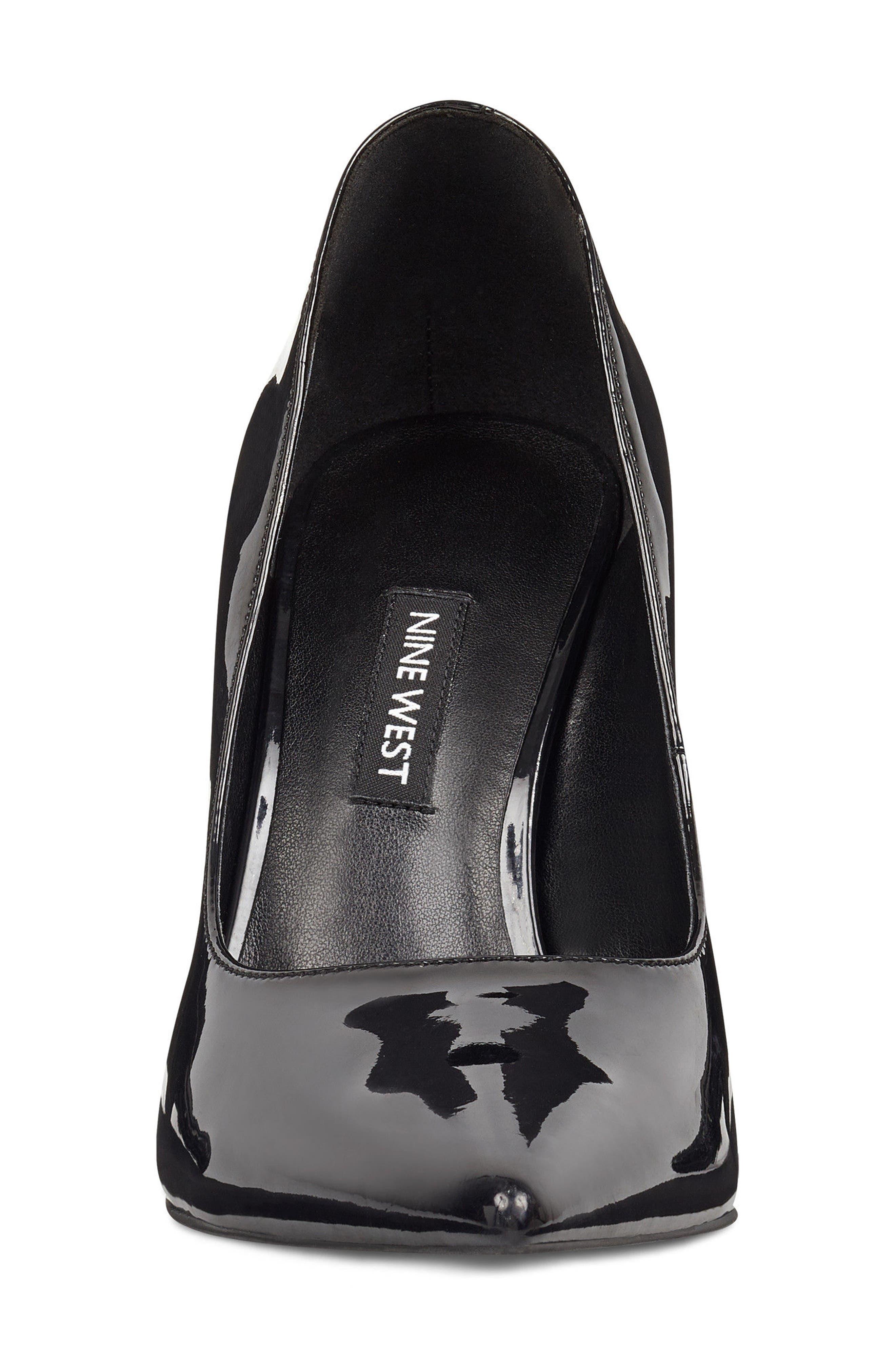 'Tatiana' Pointy Toe Pump,                             Alternate thumbnail 5, color,                             Black Sleek Patent