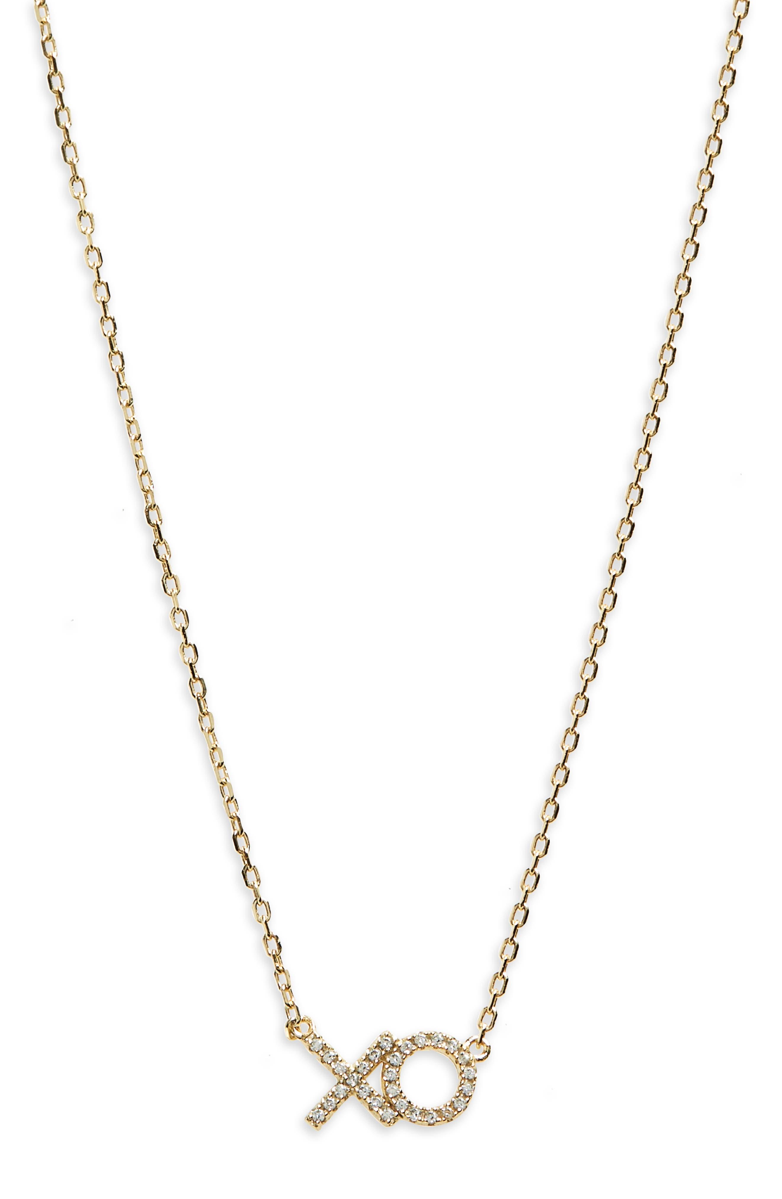 XO Pavé Pendant Necklace,                         Main,                         color, Yellow Gold
