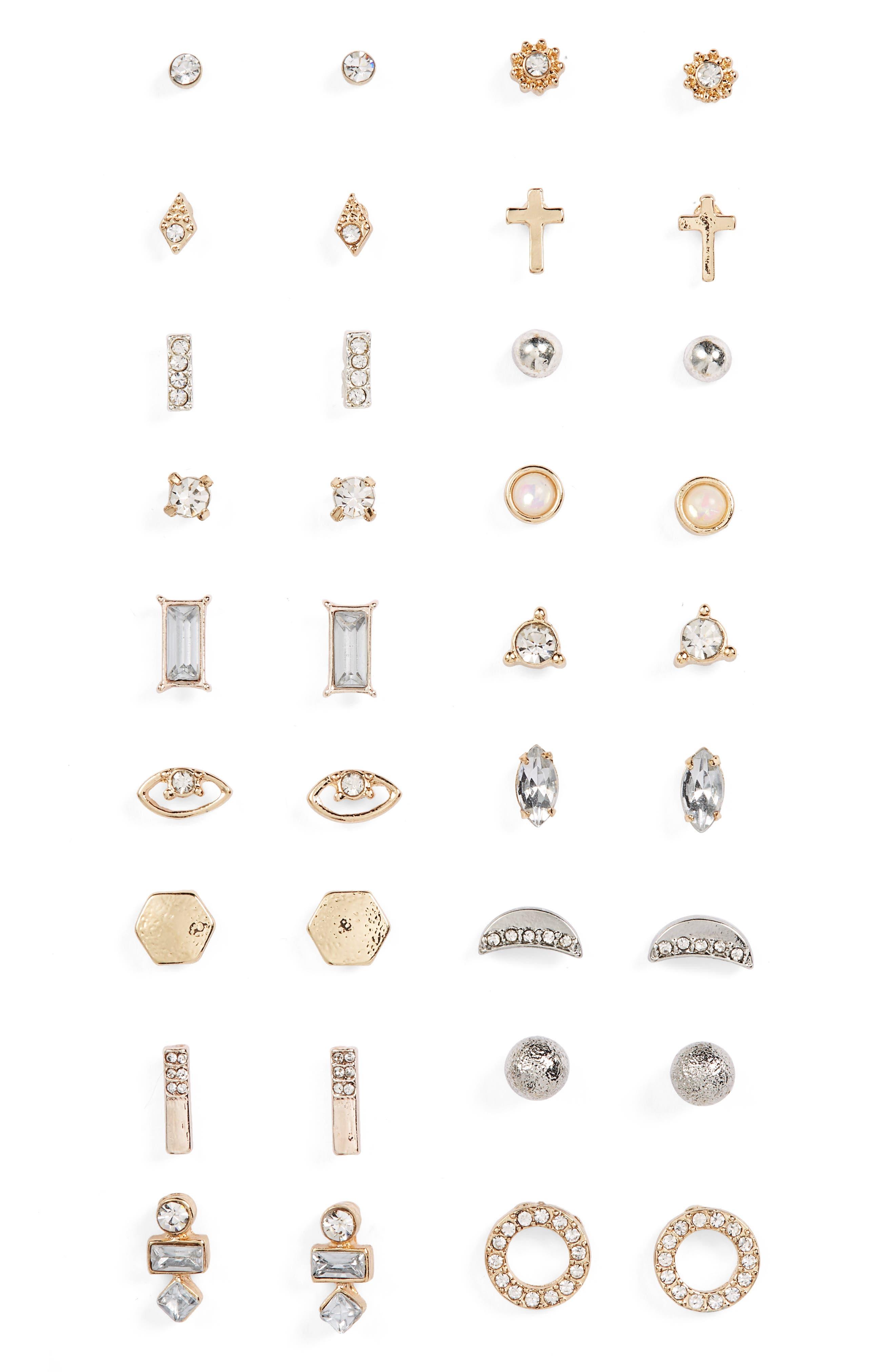 18-Pack Stud Earrings,                             Main thumbnail 1, color,                             Gold