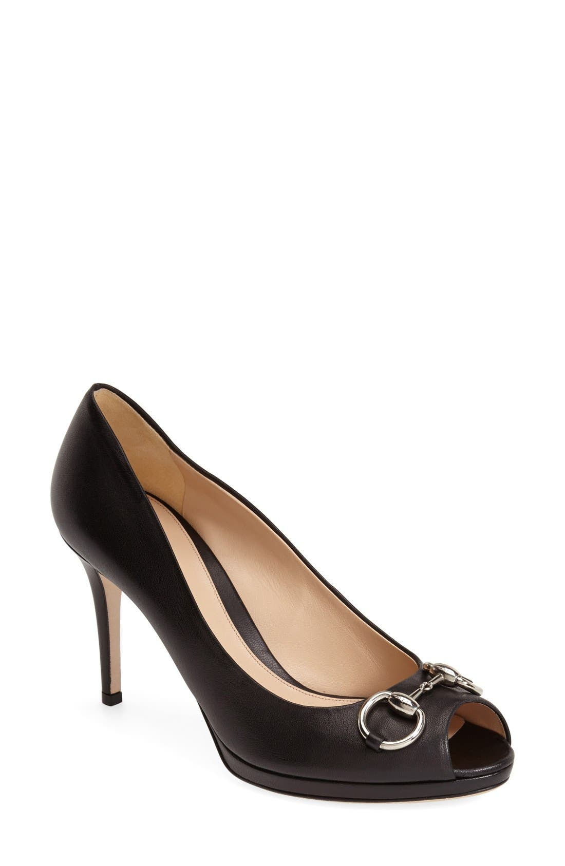 Alternate Image 1 Selected - Gucci 'New Hollywood' Open Toe Platform Pump