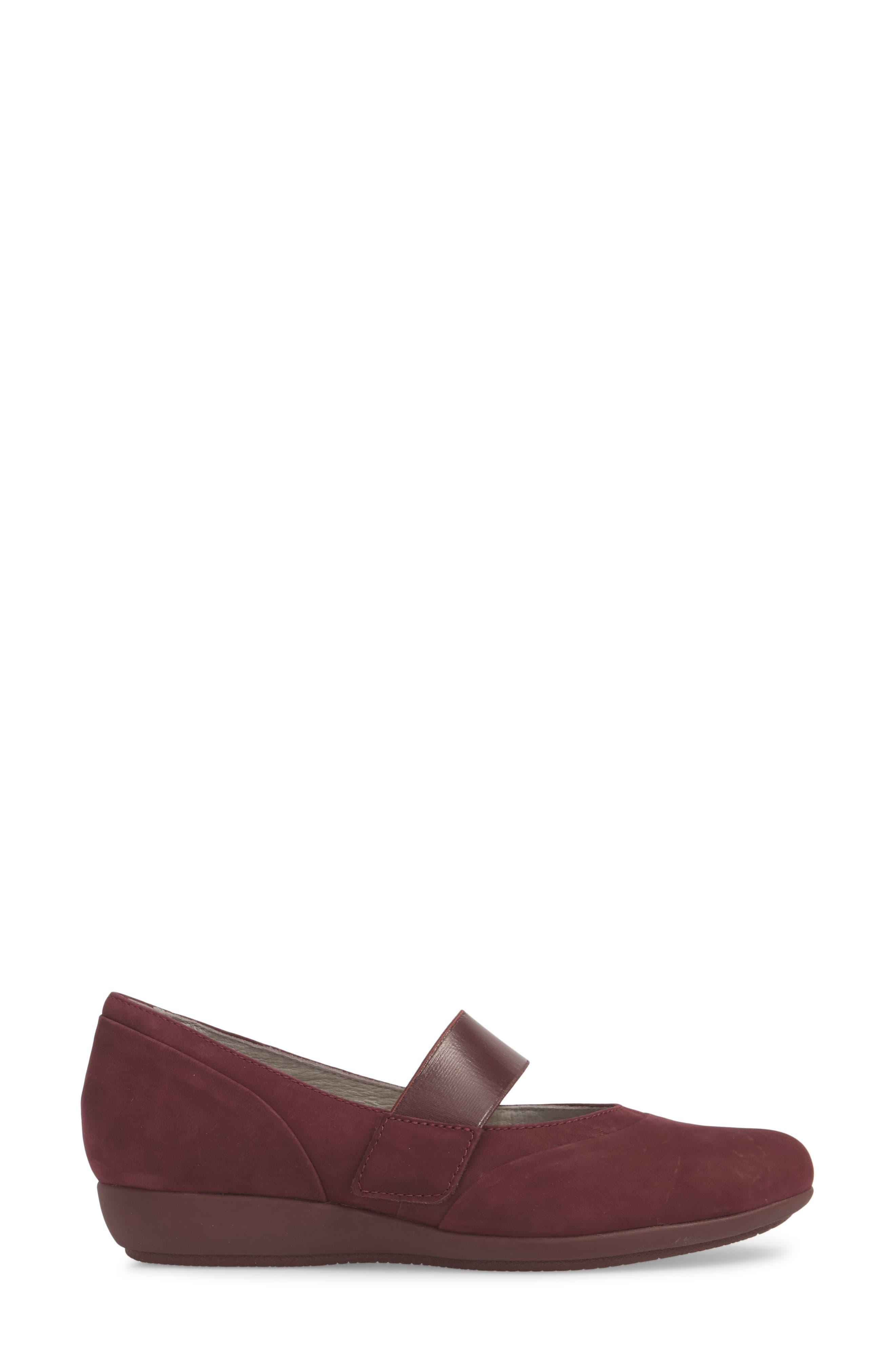 Kendra Mary Jane Wedge,                             Alternate thumbnail 6, color,                             Wine Milled Nubuck Leather