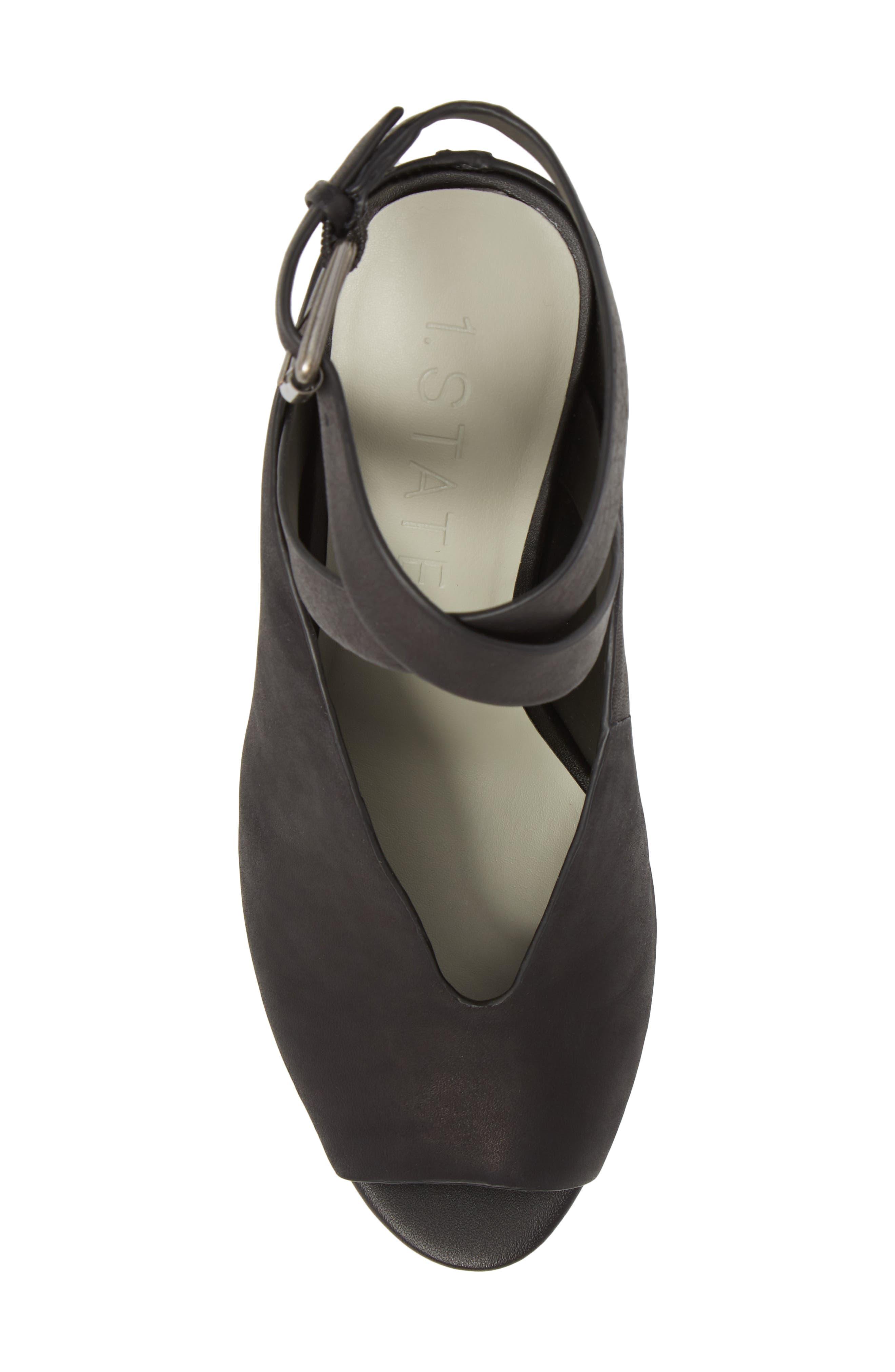 Felidia Wedge Sandal,                             Alternate thumbnail 4, color,                             Black Leather