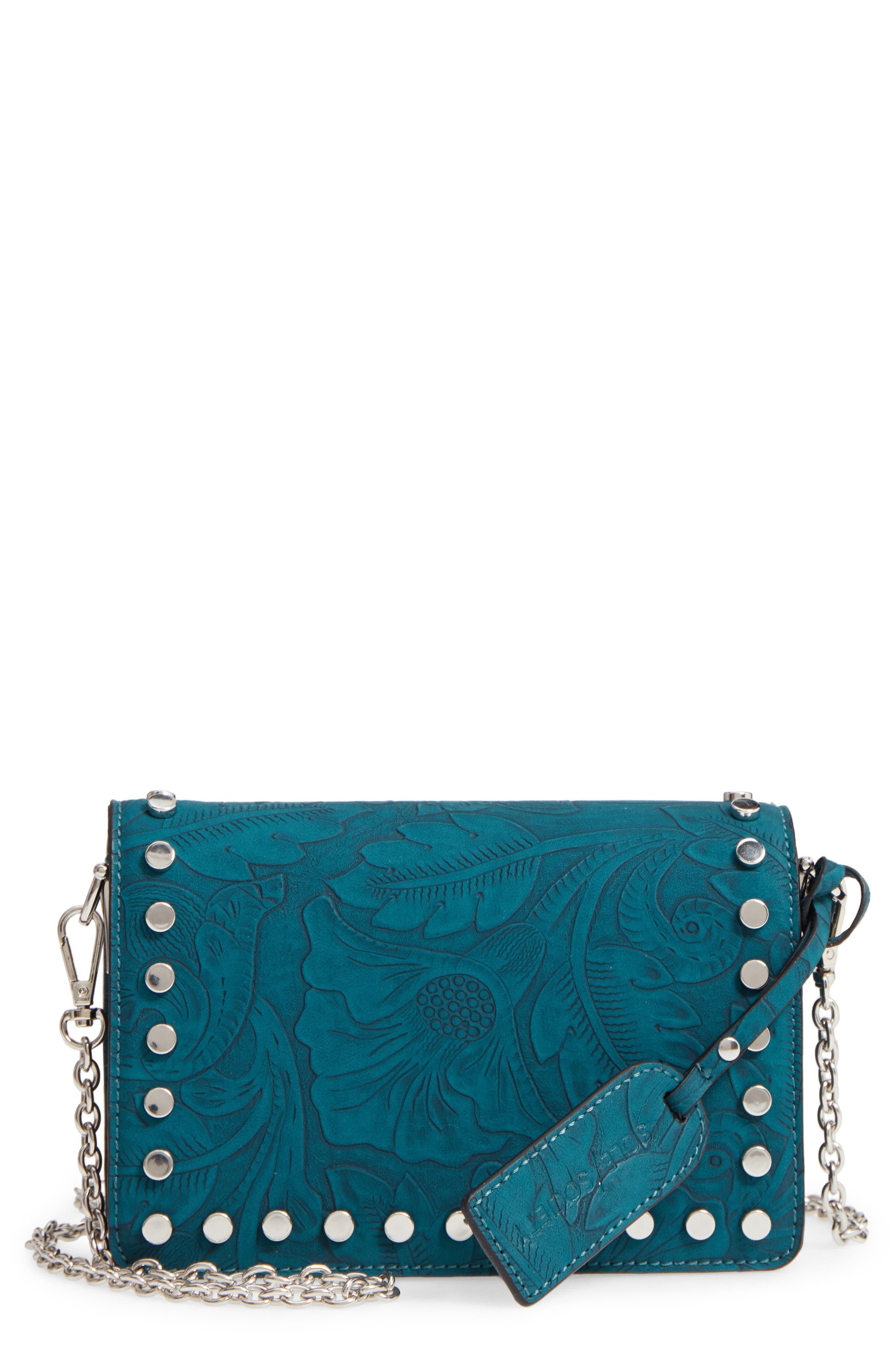Hawna Faux Leather Crossbody,                             Main thumbnail 1, color,                             Teal