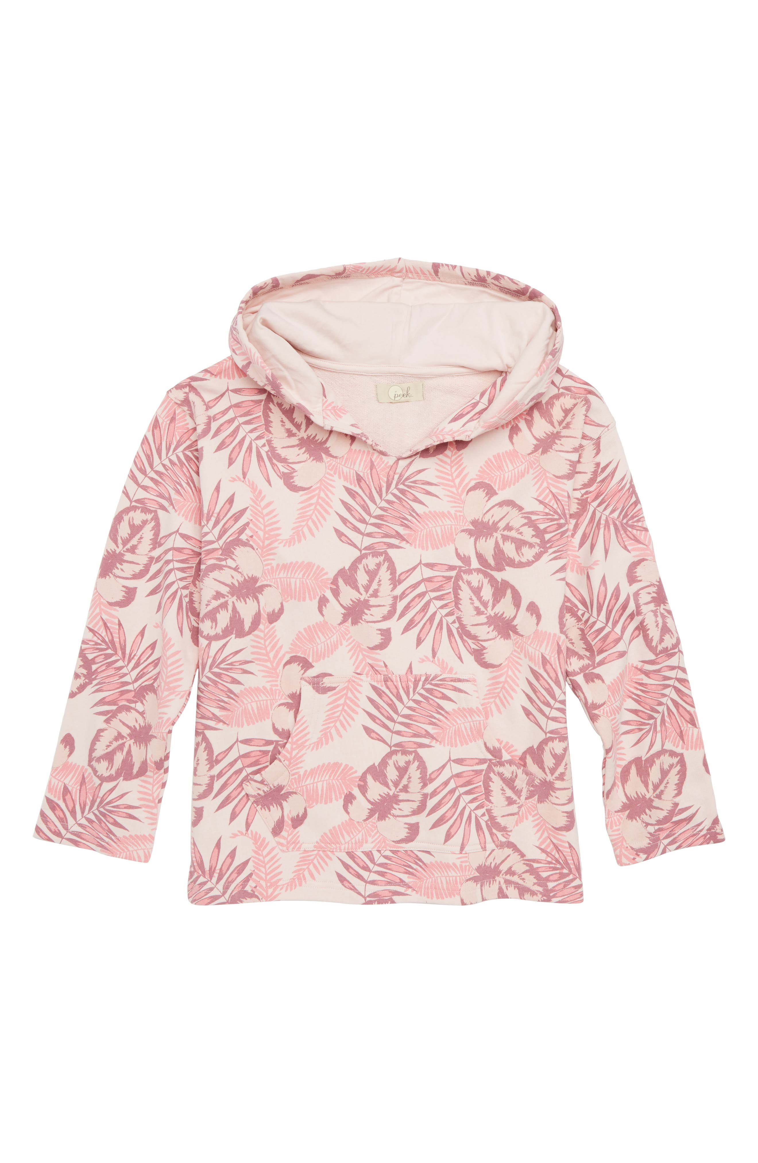 Palm Print Hoodie,                             Main thumbnail 1, color,                             Pink