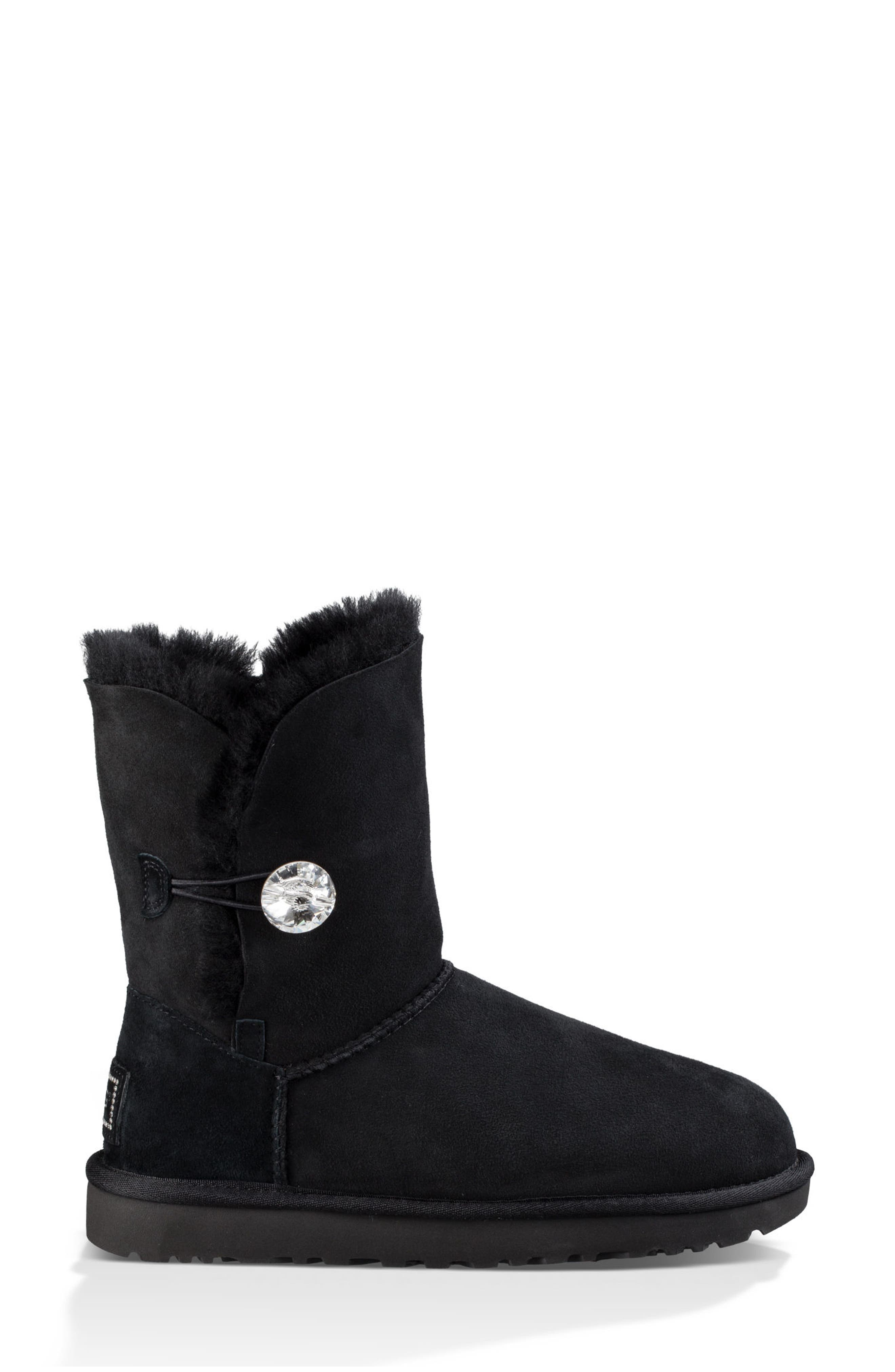 Bailey Button Bling Genuine Shearling Boot,                             Alternate thumbnail 3, color,                             Black Suede