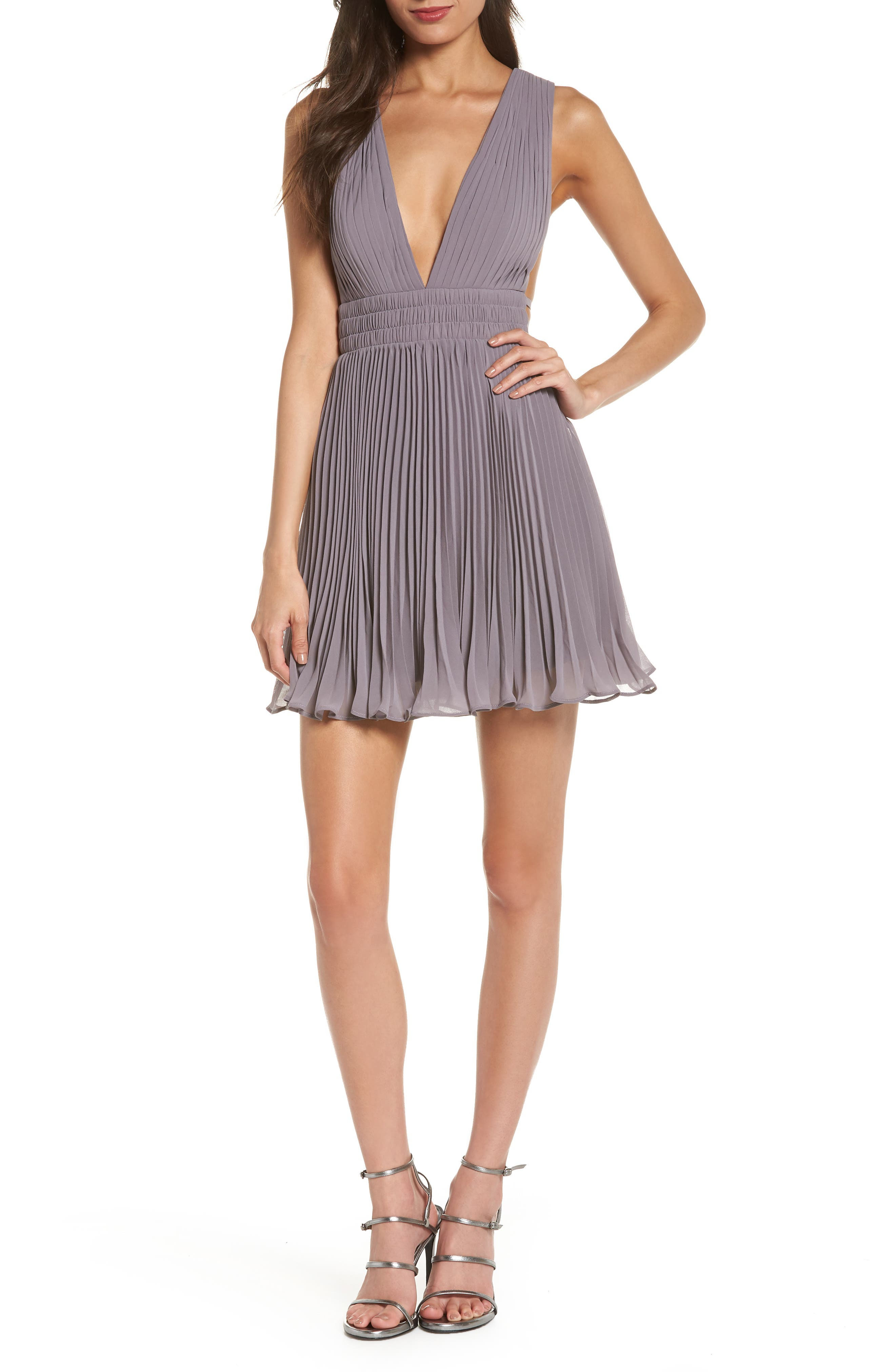 Fame & Partners The Briella Fit & Flare Pleat Dress,                             Main thumbnail 1, color,                             Mid-Grey