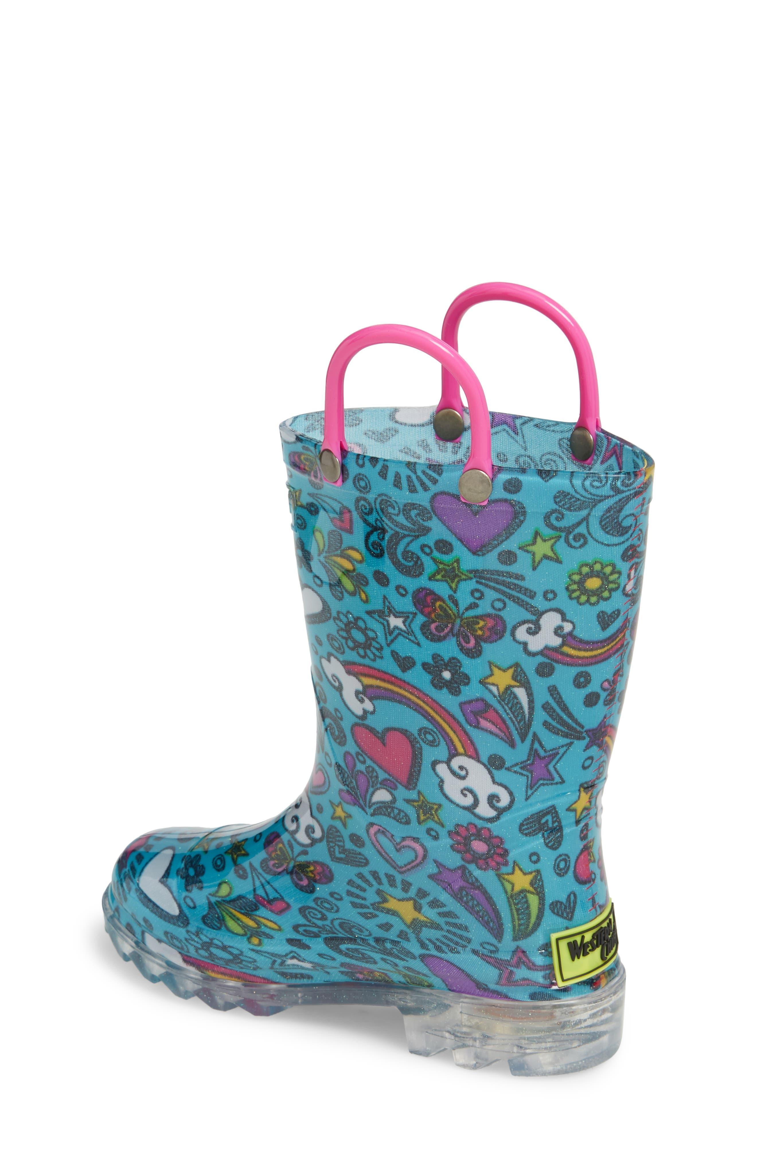 Sketchbook Light-Up Rain Boot,                             Alternate thumbnail 2, color,                             Teal