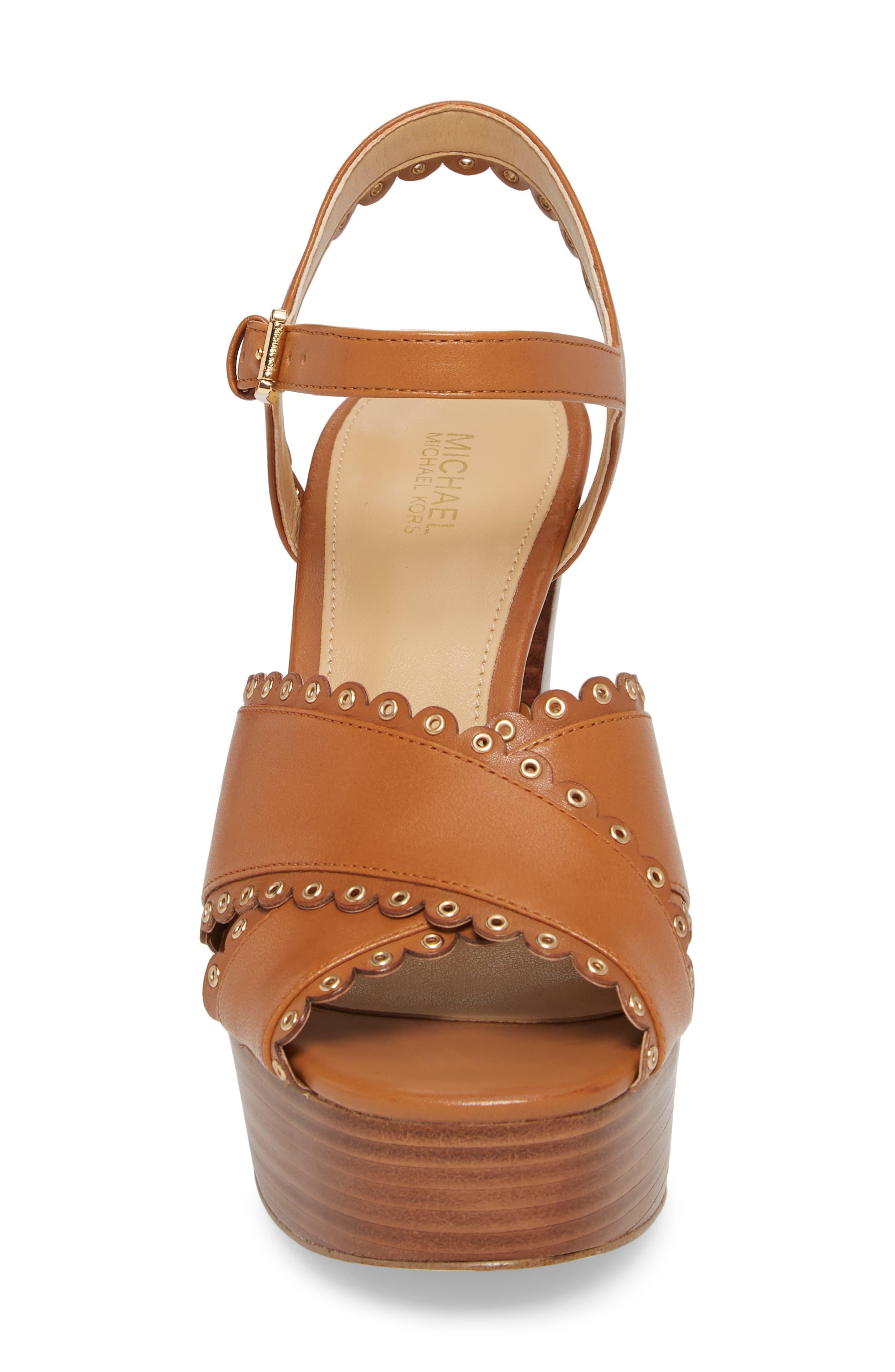 Jessie Platform Sandal,                             Alternate thumbnail 3, color,                             Acorn Leather