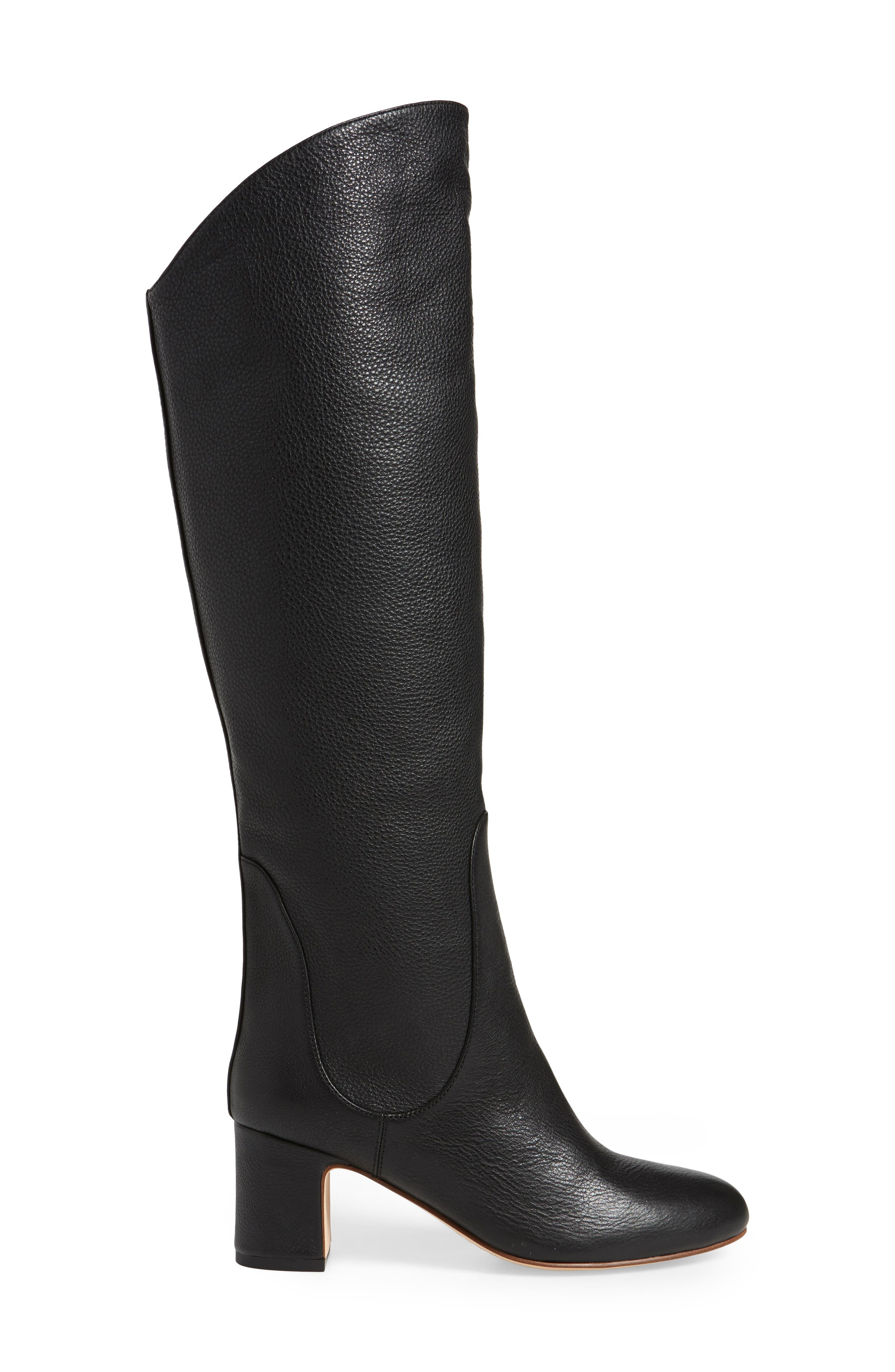 Nick Knee High Boot,                             Alternate thumbnail 4, color,                             Black Leather