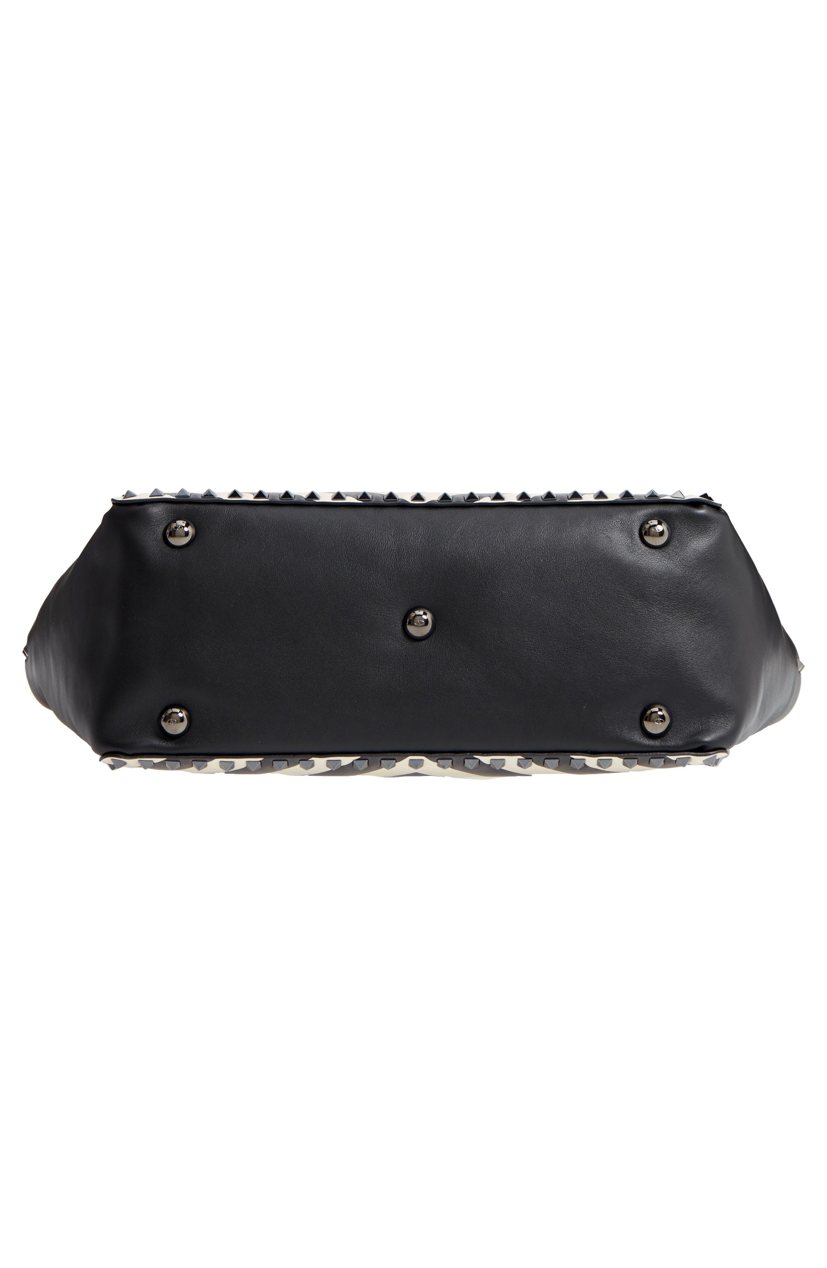 Rockstud Chevron Stripe Leather Tote,                             Alternate thumbnail 4, color,                             Black/ Ivory