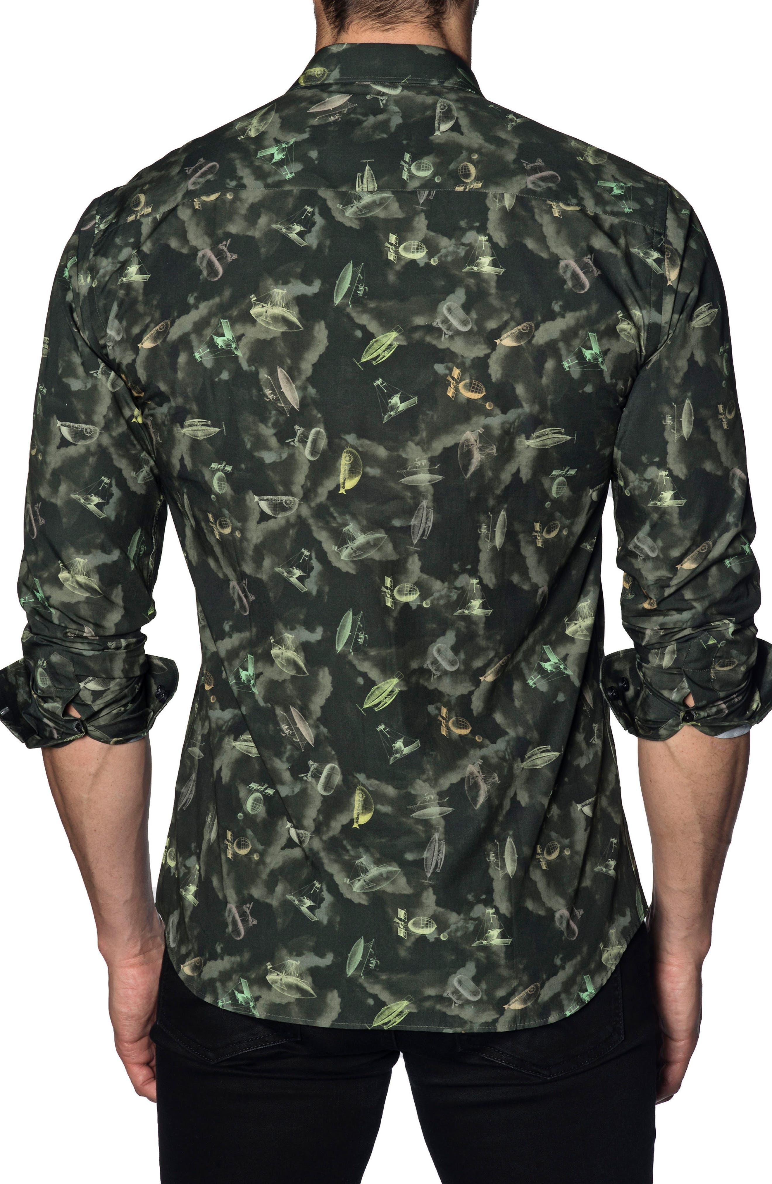 Trim Fit Sport Shirt,                             Alternate thumbnail 2, color,                             Green Army Print