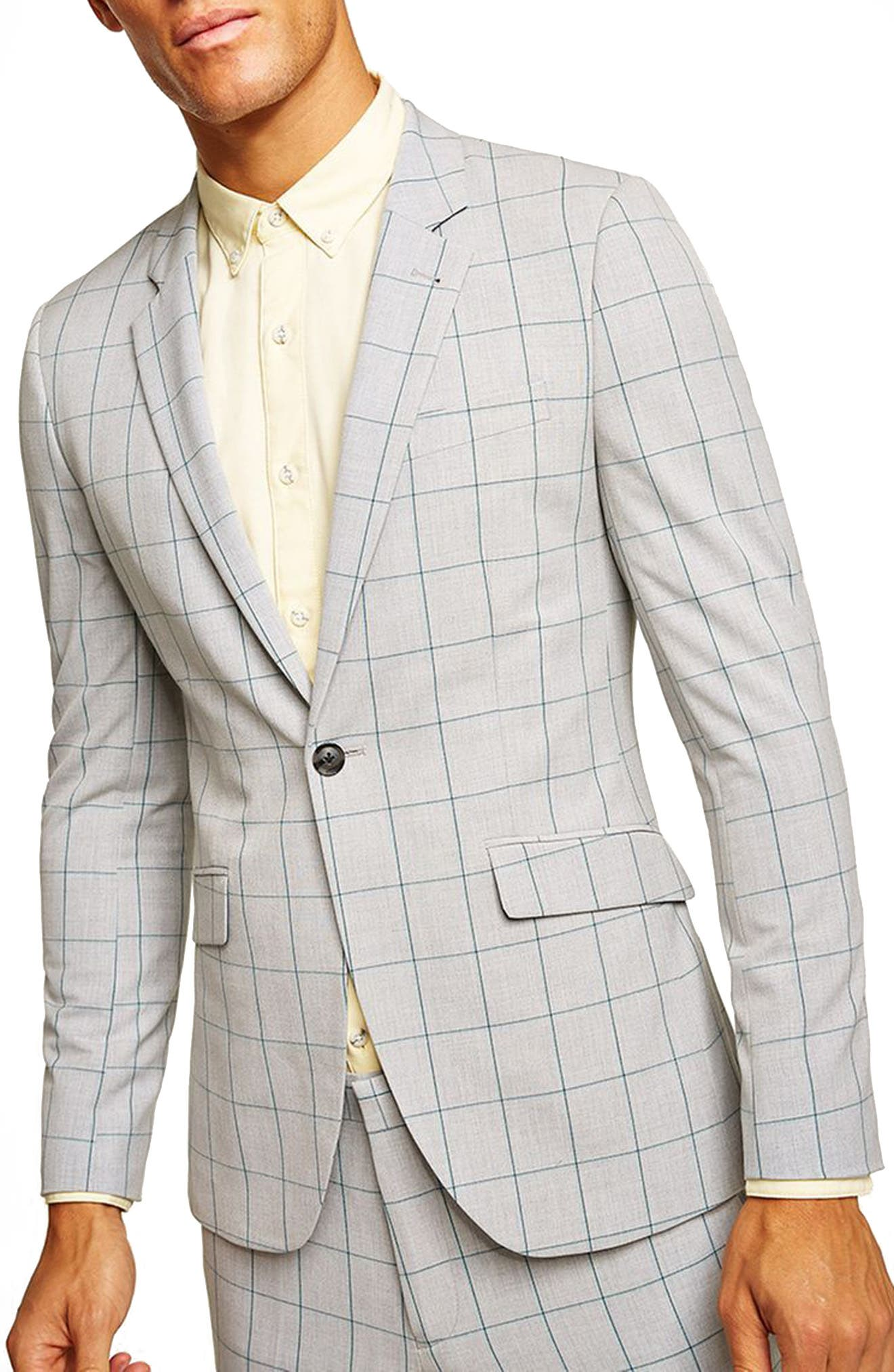 TOPMAN Muscle Fit Check Suit Jacket in Green Multi