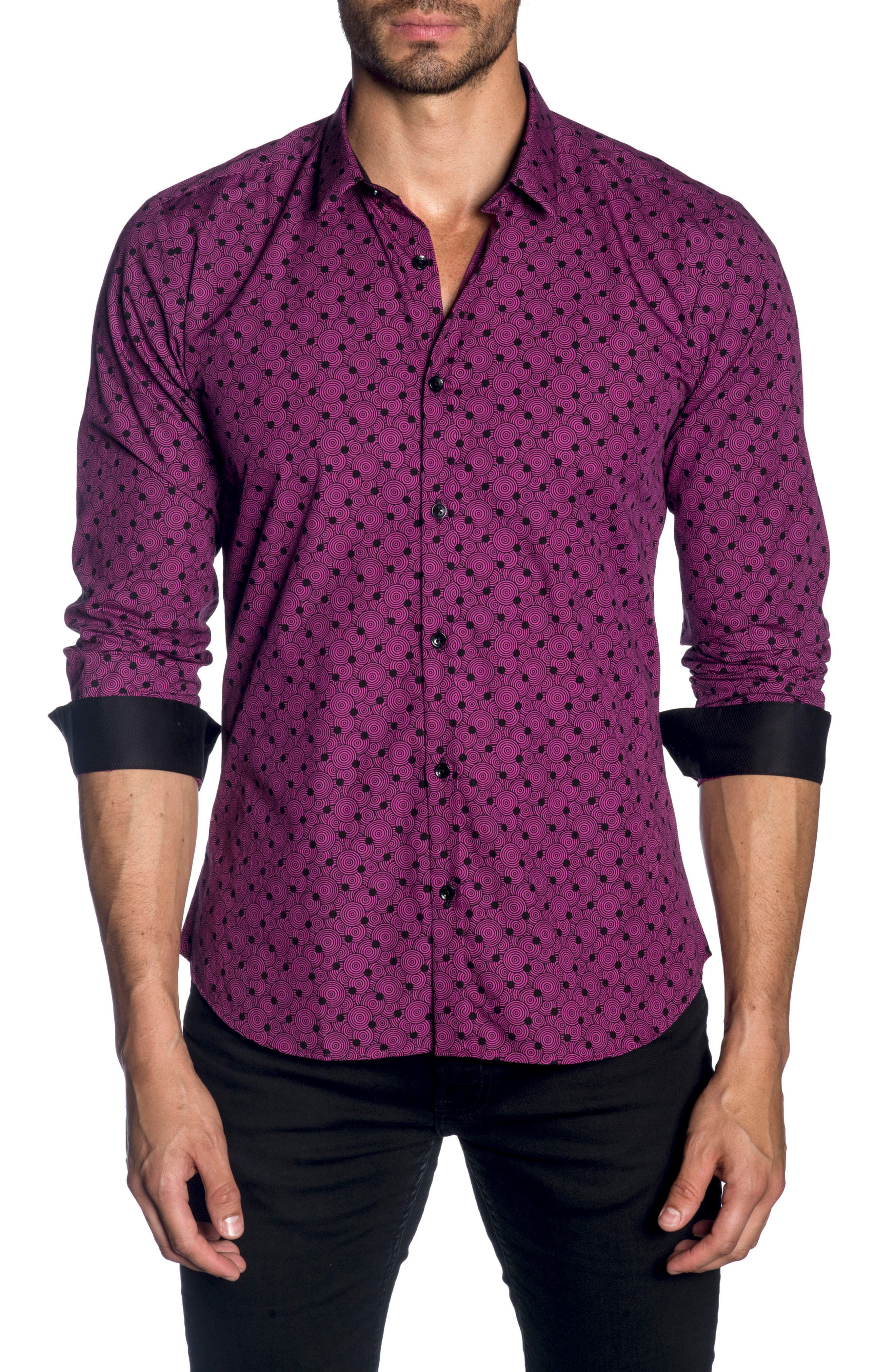 Trim Fit Sport Shirt,                         Main,                         color, Black Fuchsia Print