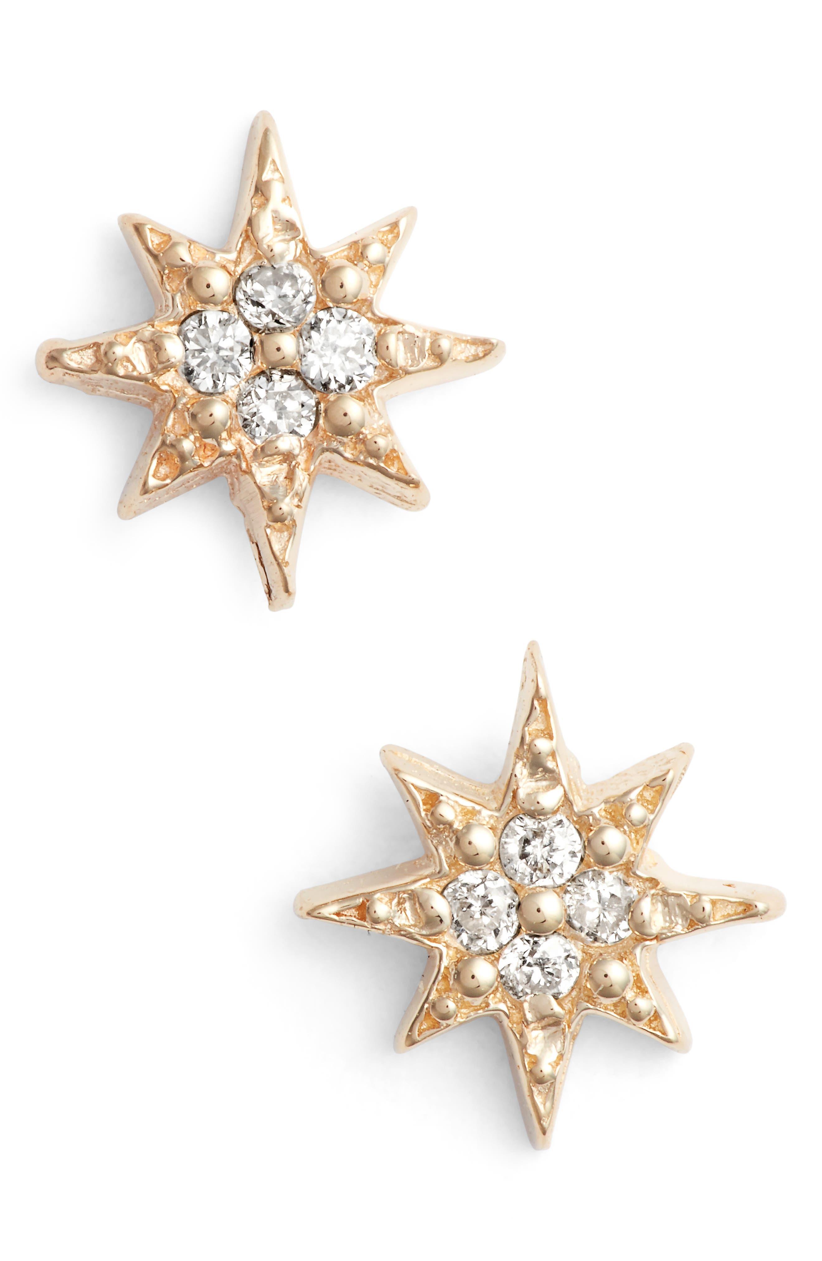 ANZIE MINI STARBURST DIAMOND EARRINGS