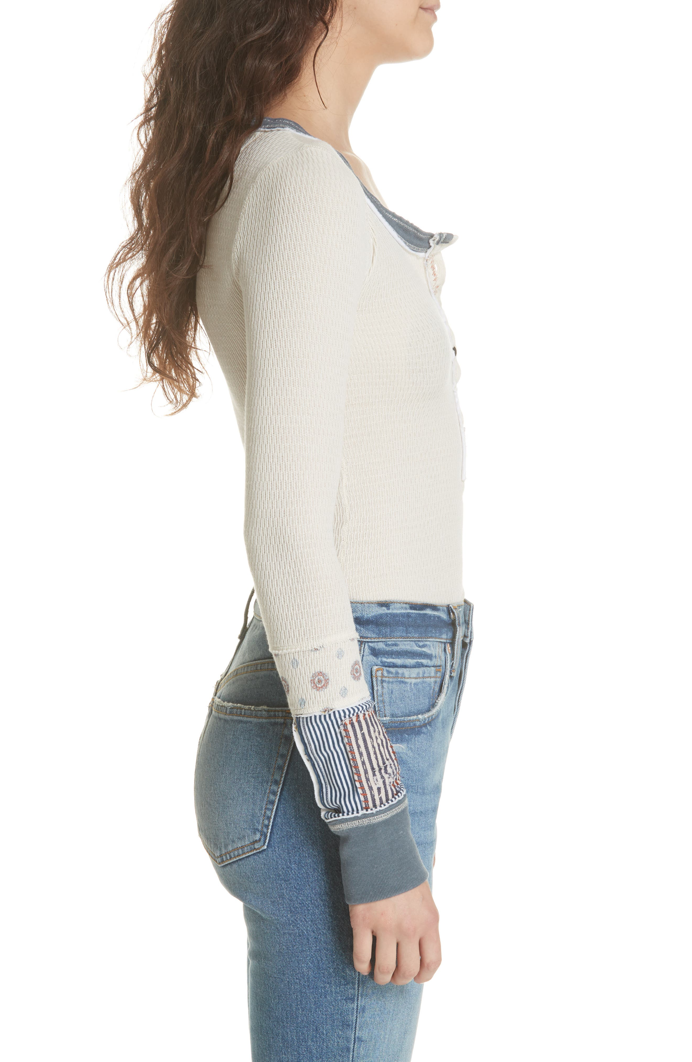 We the Free by Free People Railroad Henley Top,                             Alternate thumbnail 5, color,                             Ivory