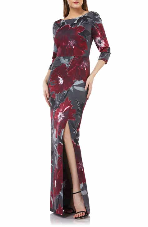 Kay Unger Floral-Print Gown