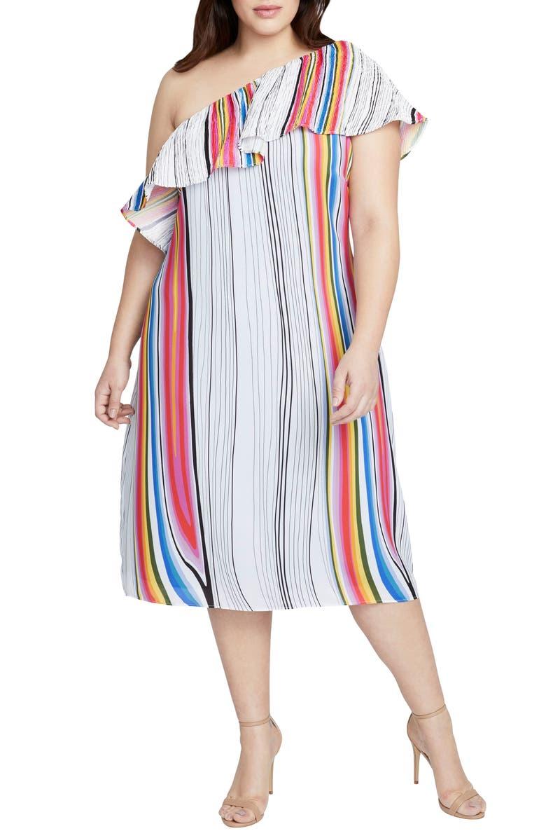 Rainbow Stripe One-Shoulder Midi Dress