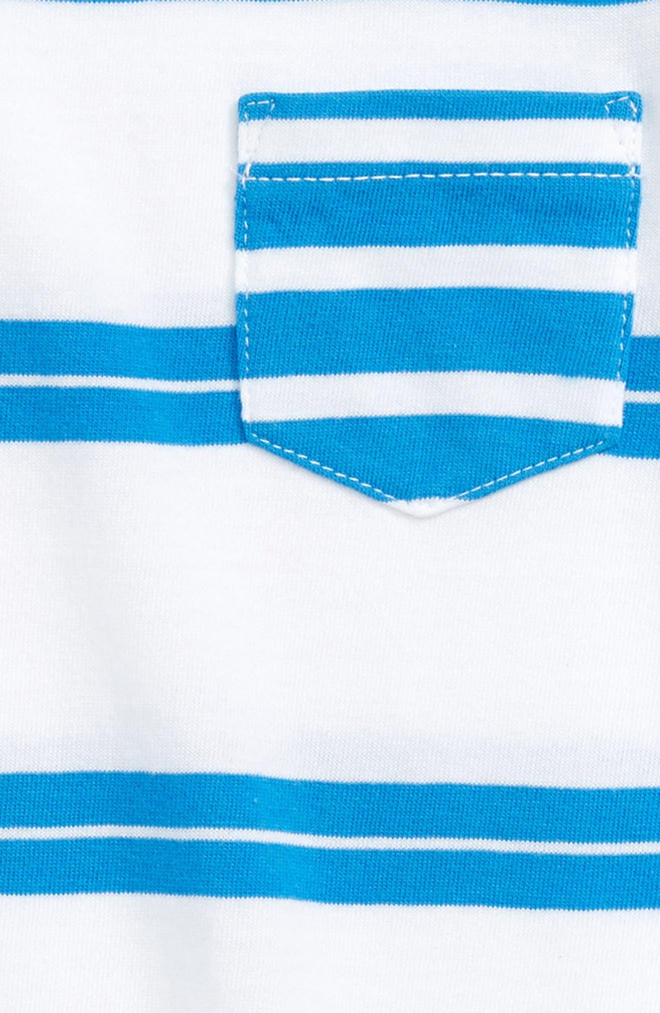 Mixed Stripe Cotton Romper,                             Alternate thumbnail 2, color,                             White- Blue Stripe