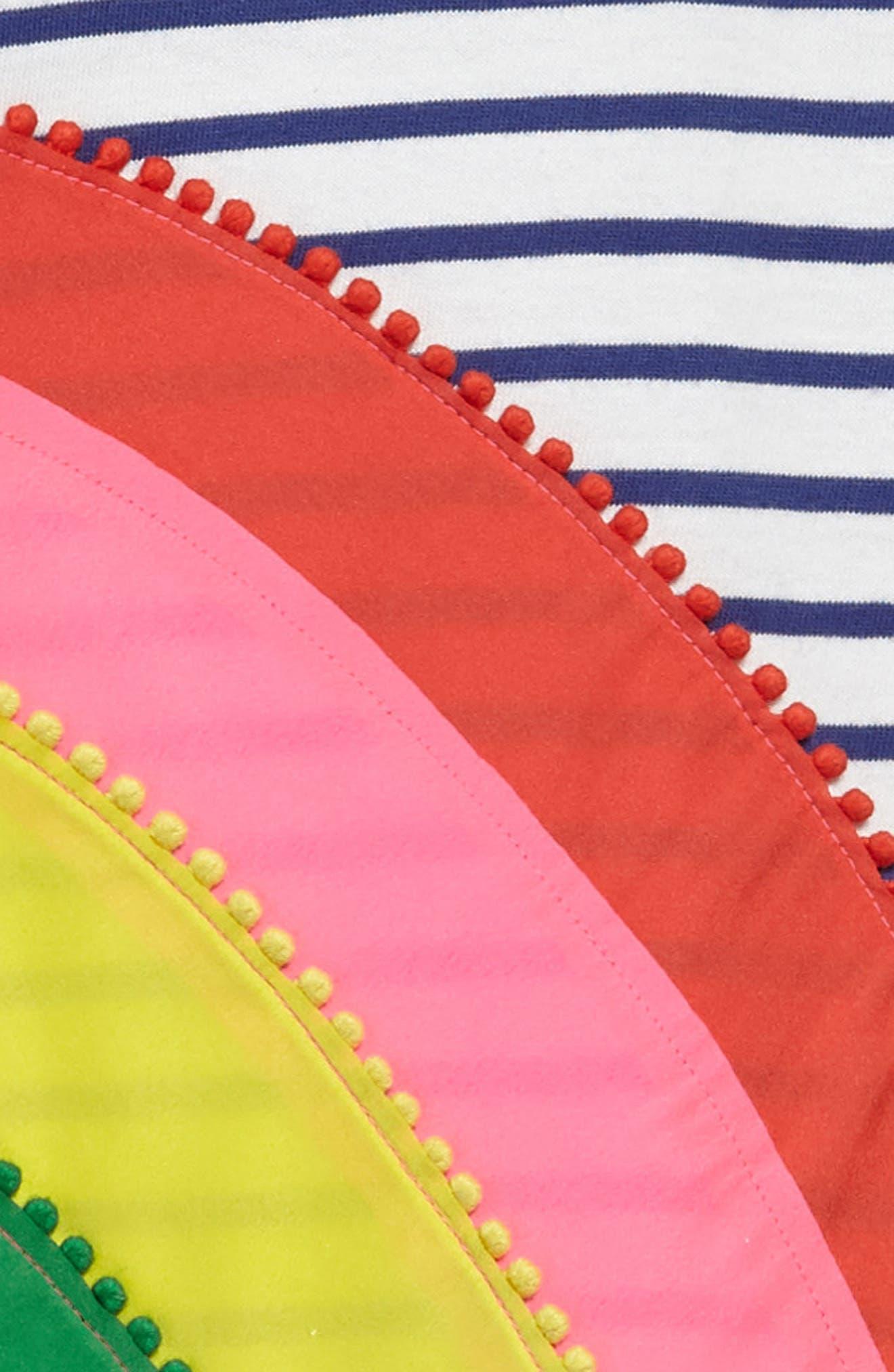 Rainbow Appliqué T-Shirt Dress,                             Alternate thumbnail 3, color,                             Ivory/ Starboard Blue Rainbow