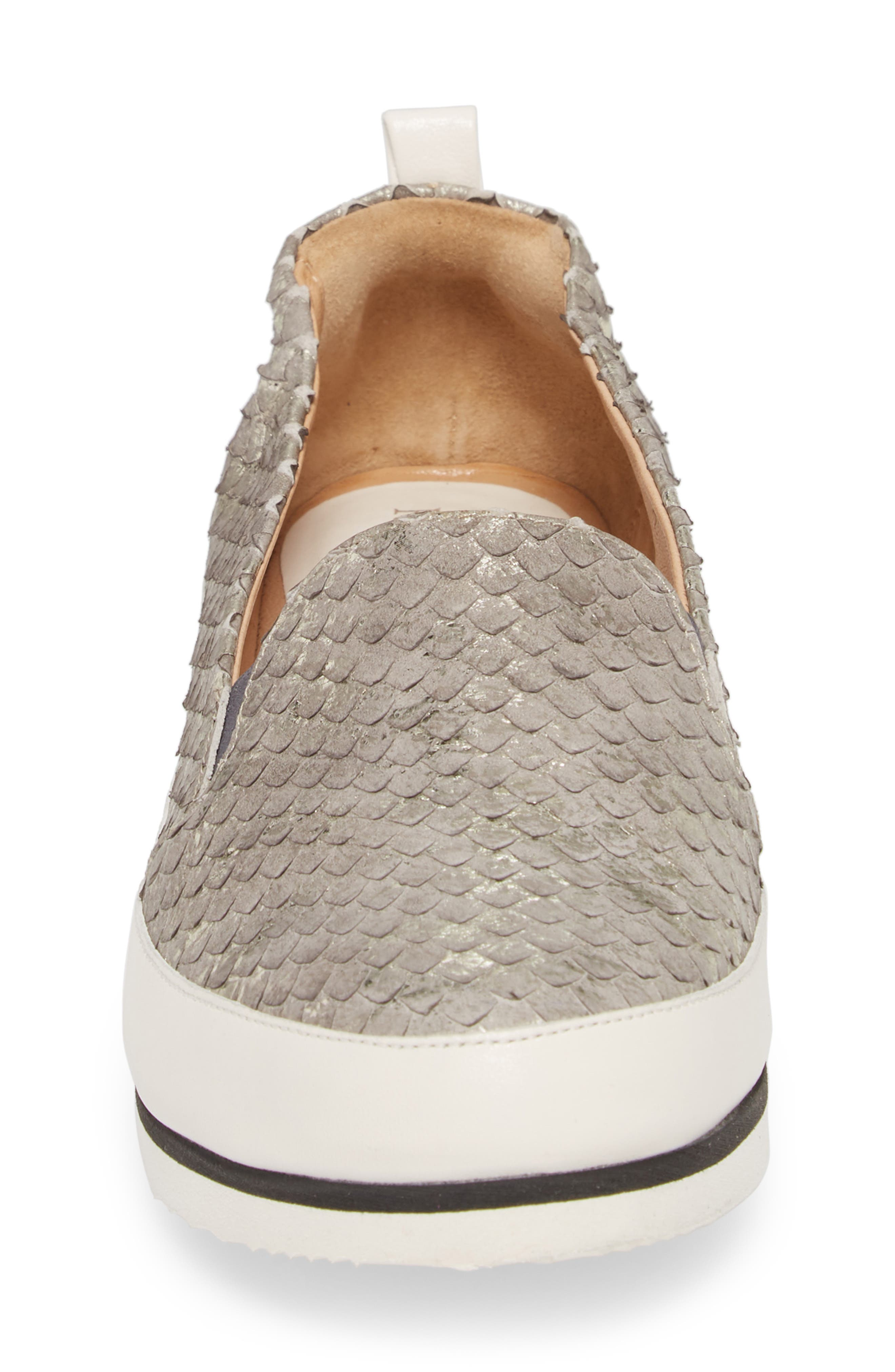 Nell Slip-On Sneaker,                             Alternate thumbnail 4, color,                             Pewter Leather