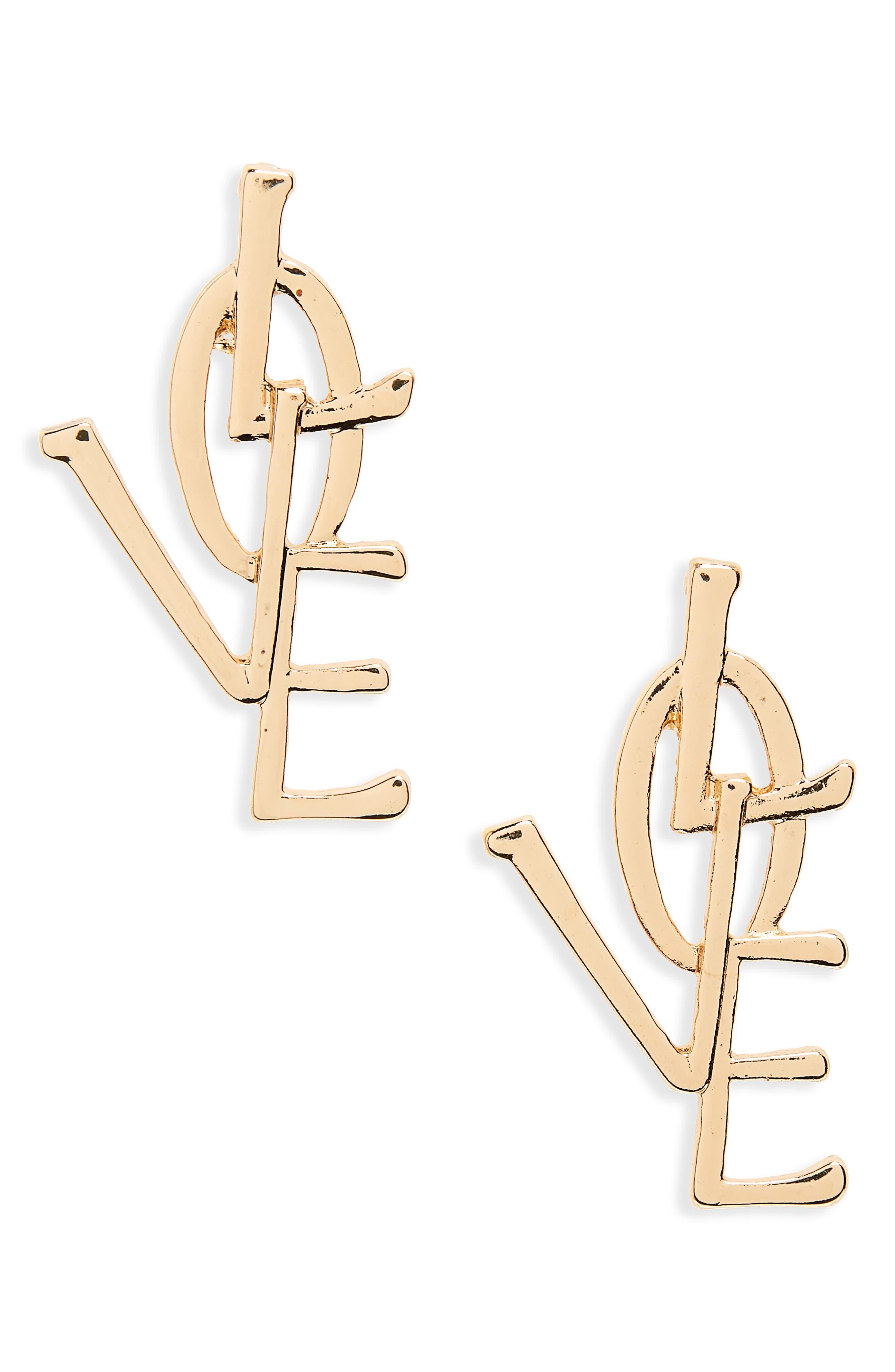 Love Earrings,                         Main,                         color, Gold