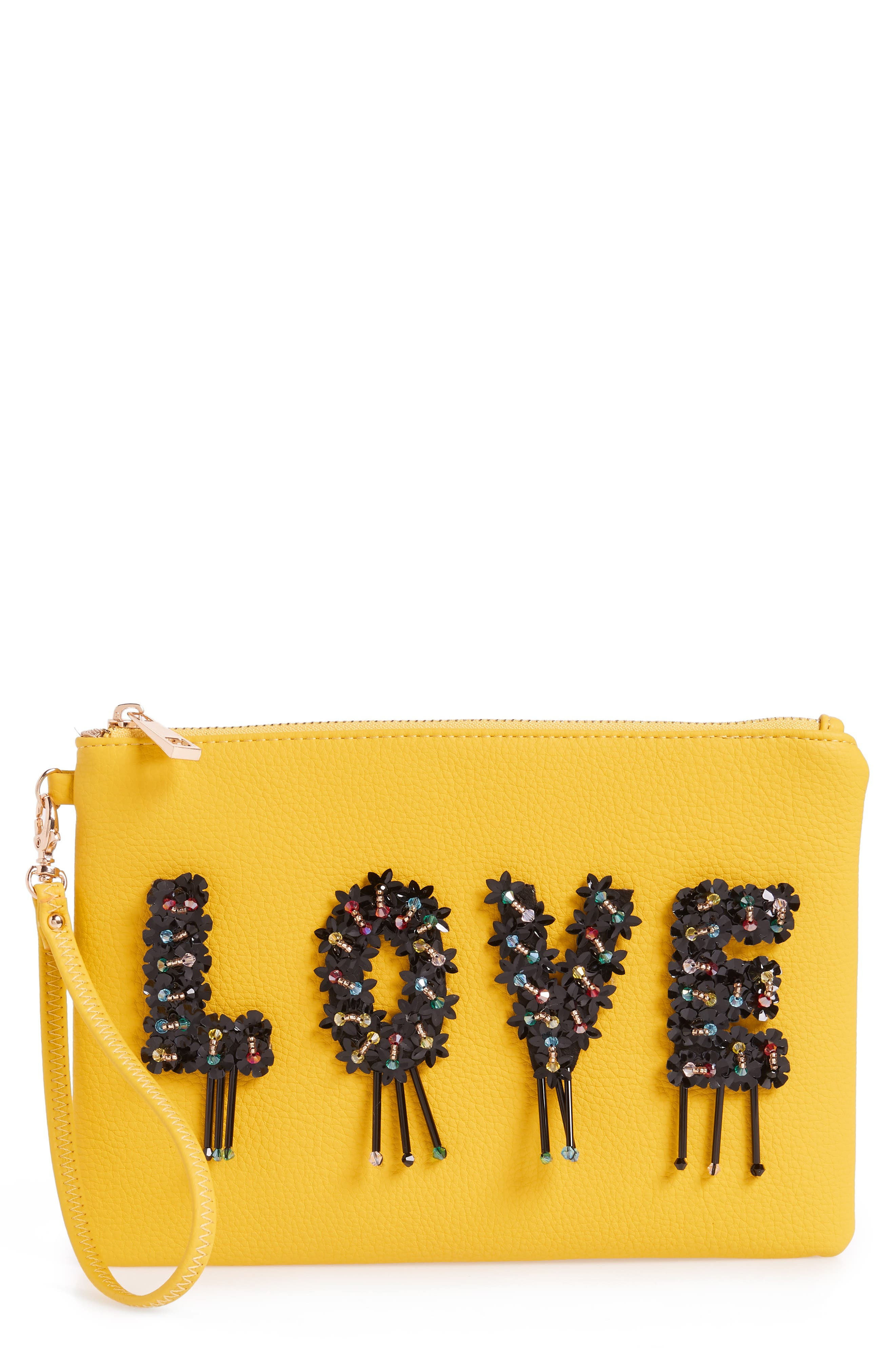 Love Embellished Faux Leather Wristlet,                             Main thumbnail 1, color,                             Yellow