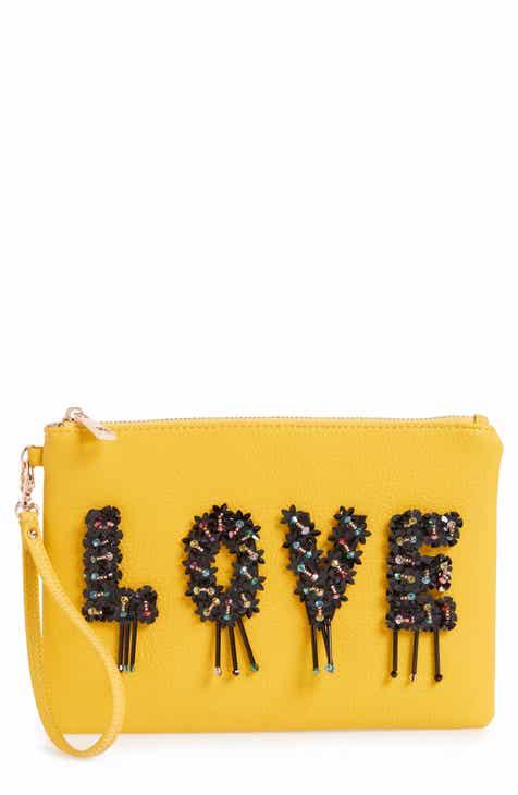 Sondra Roberts Love Embellished Faux Leather Wristlet
