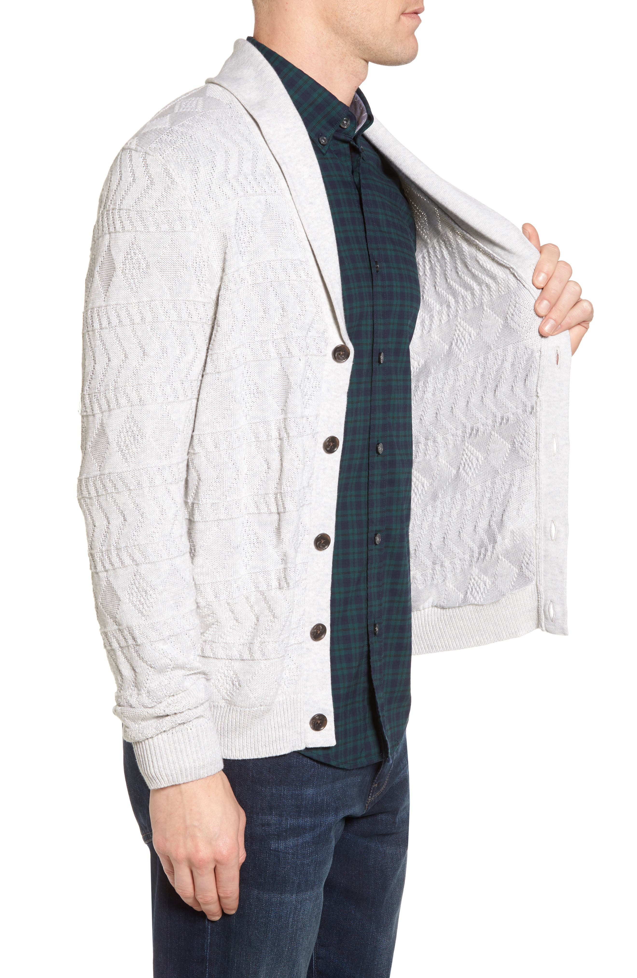 Cotton Cardigan,                             Alternate thumbnail 3, color,                             Grey Micro Heather