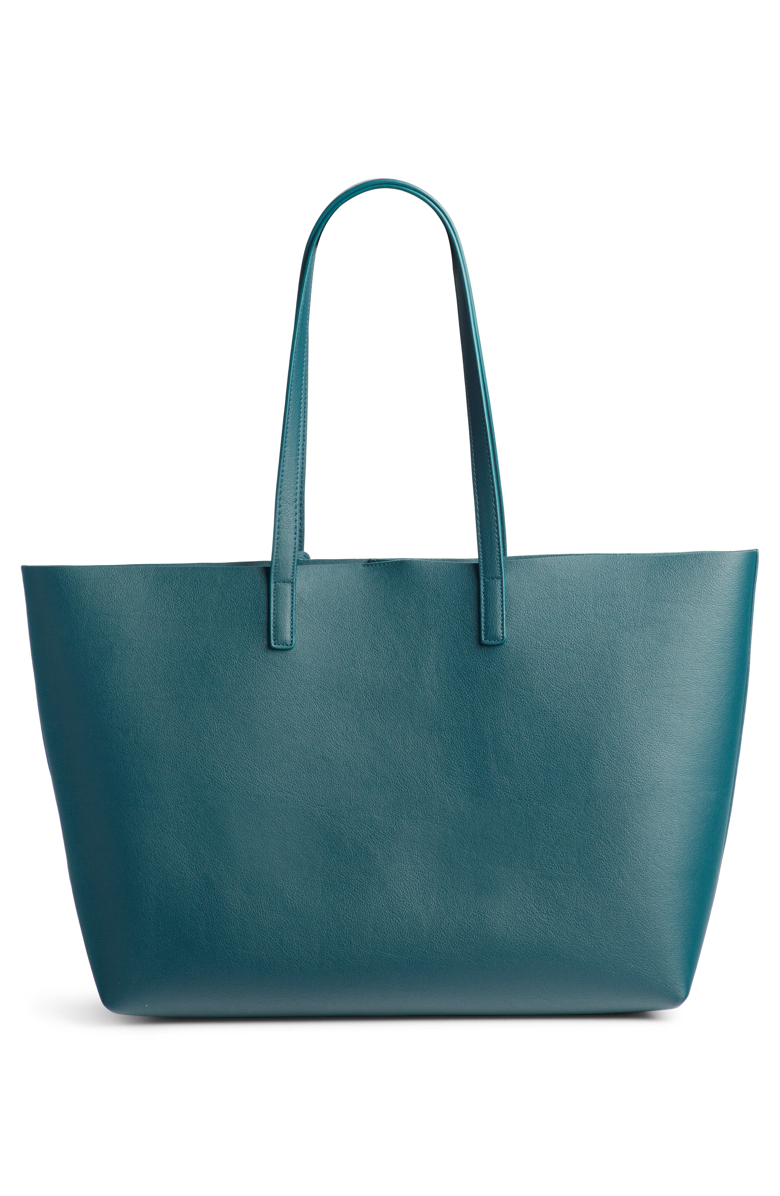 'Shopping' Leather Tote,                             Alternate thumbnail 5, color,                             Dark Turquoise