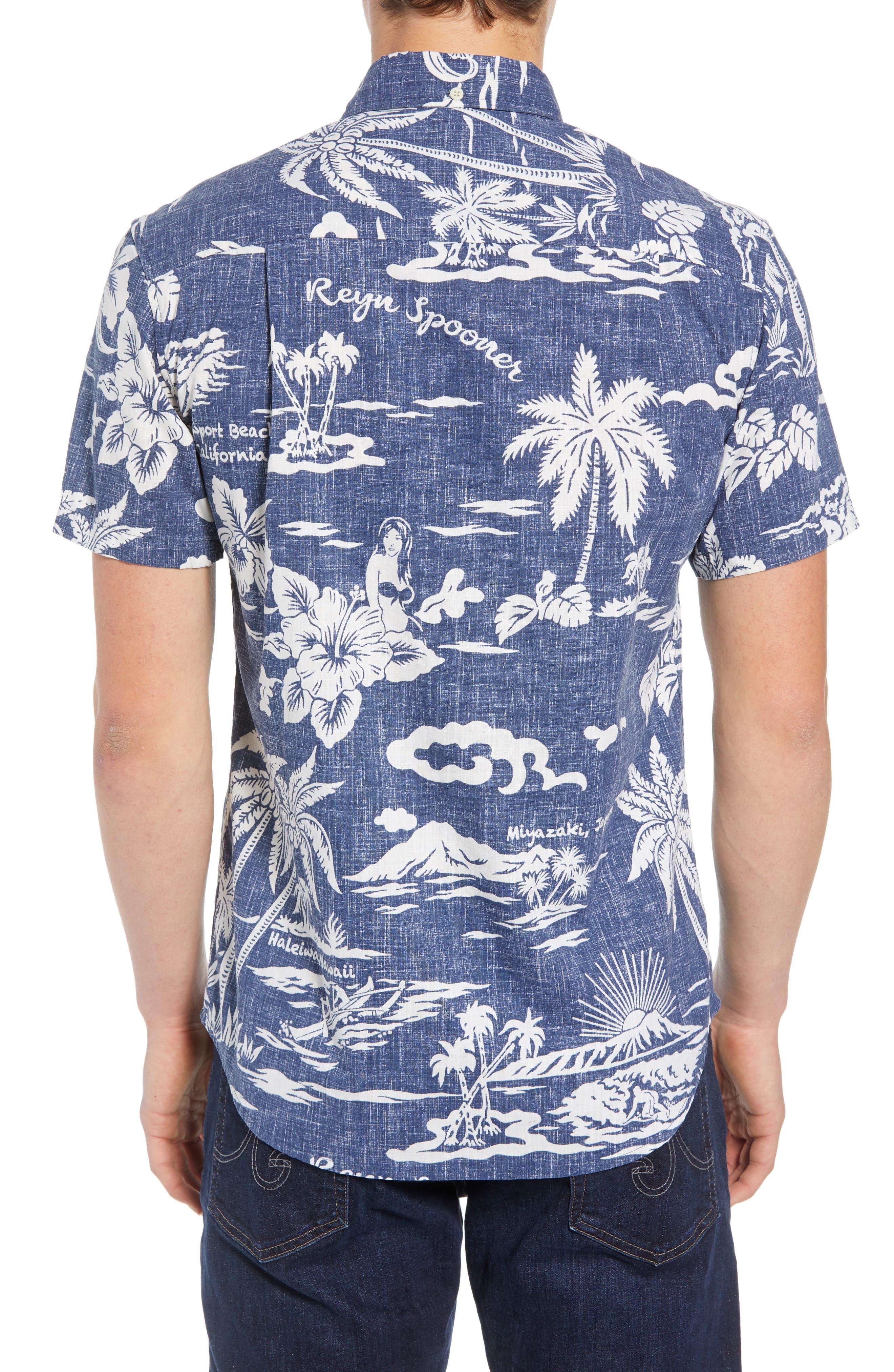 My Private Isle Regular Fit Sport Shirt,                             Alternate thumbnail 3, color,                             Blue