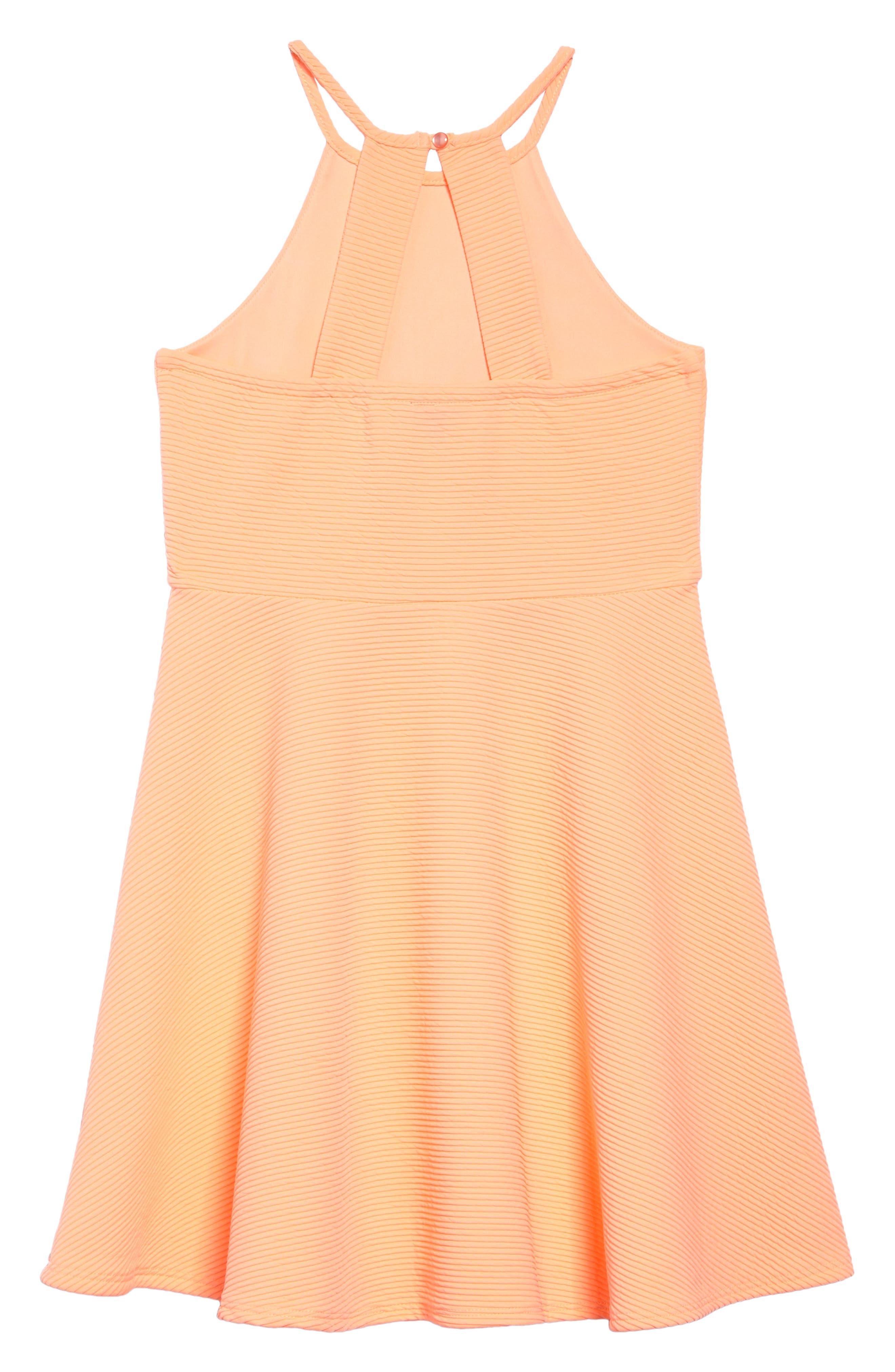 Textured Skater Dress,                             Alternate thumbnail 2, color,                             Neoncoral