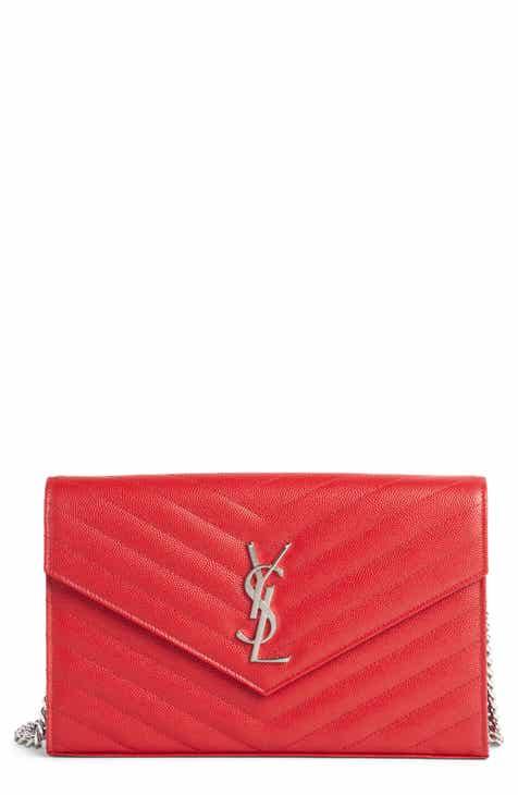 a8666b164db4 Saint Laurent Quilted Calfskin Leather Wallet on a Chain