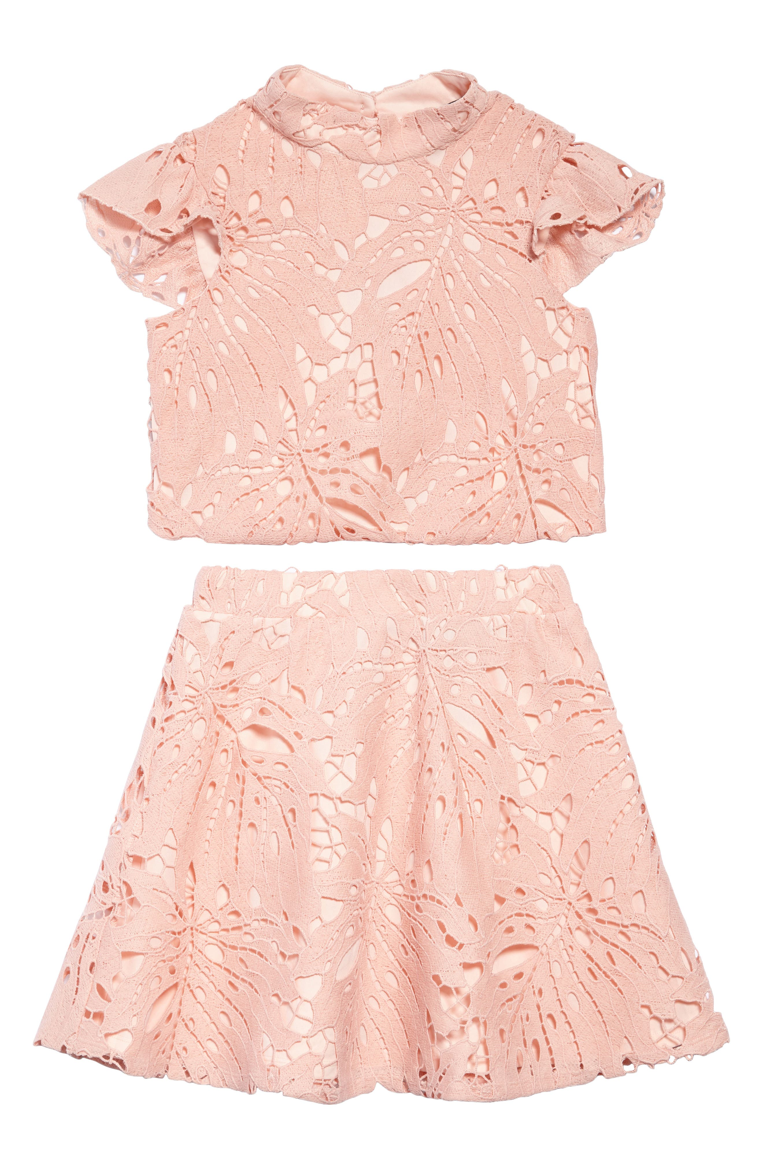 Daina Two-Piece Lace Dress,                             Main thumbnail 1, color,                             Peach