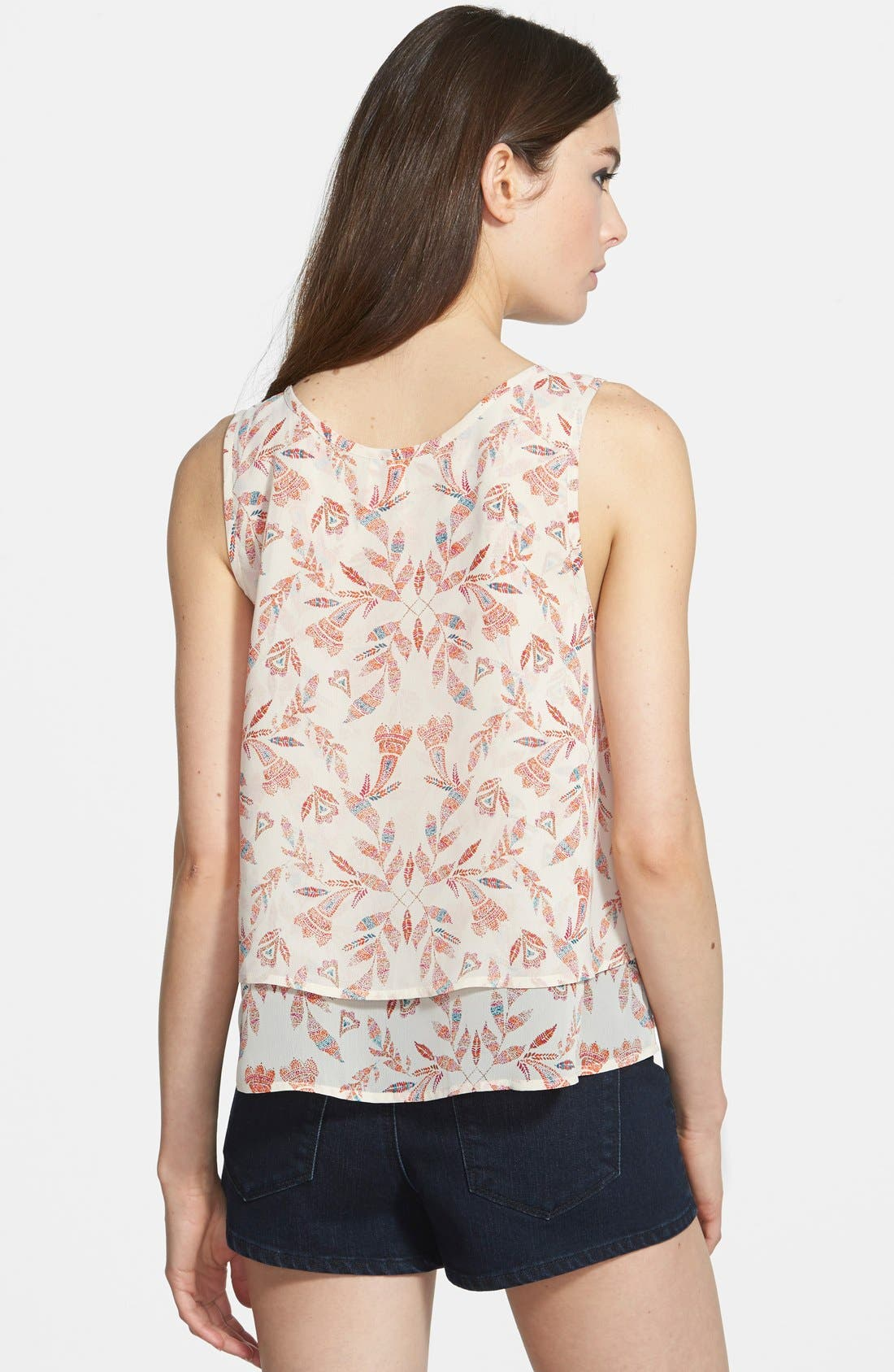 Print Layered Tank,                             Alternate thumbnail 2, color,                             Ivory Pearl Scattered Feather