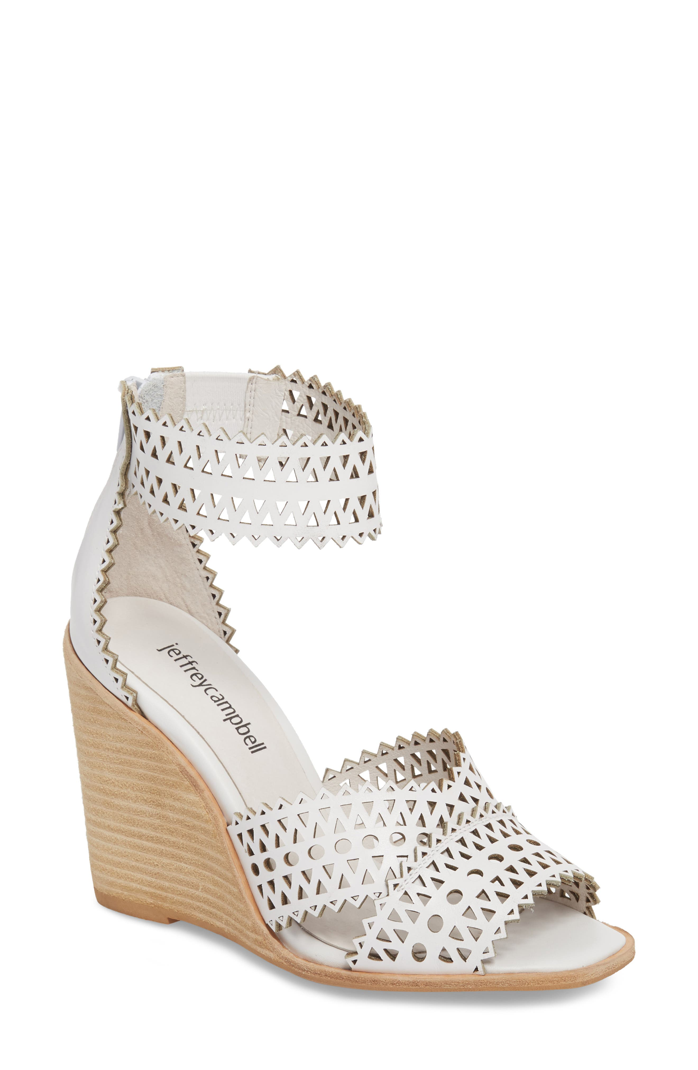 Besante Perforated Wedge Sandal,                             Main thumbnail 1, color,                             White